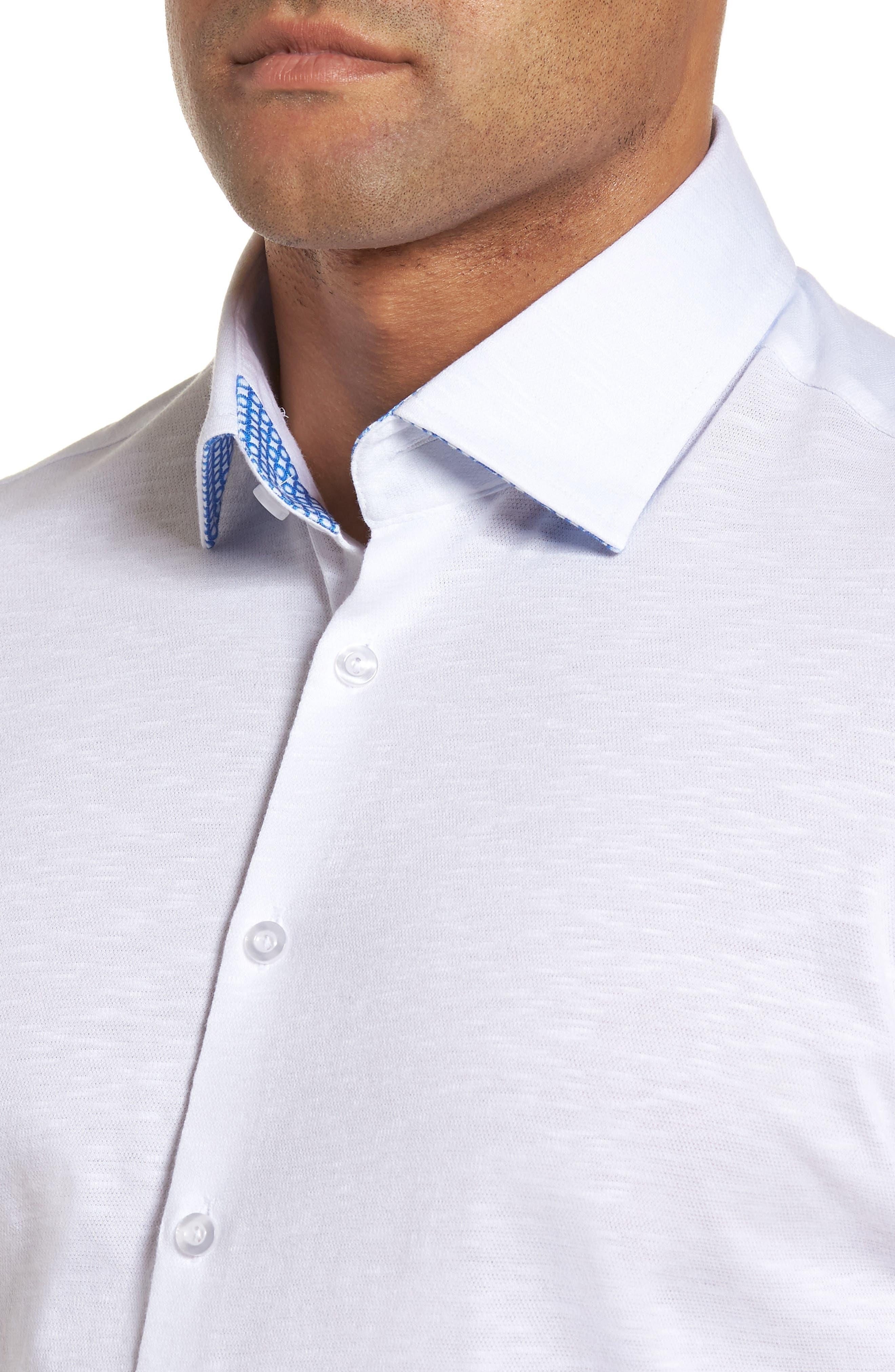 Slim Fit Flame Knit Sport Shirt,                             Alternate thumbnail 4, color,                             WHITE