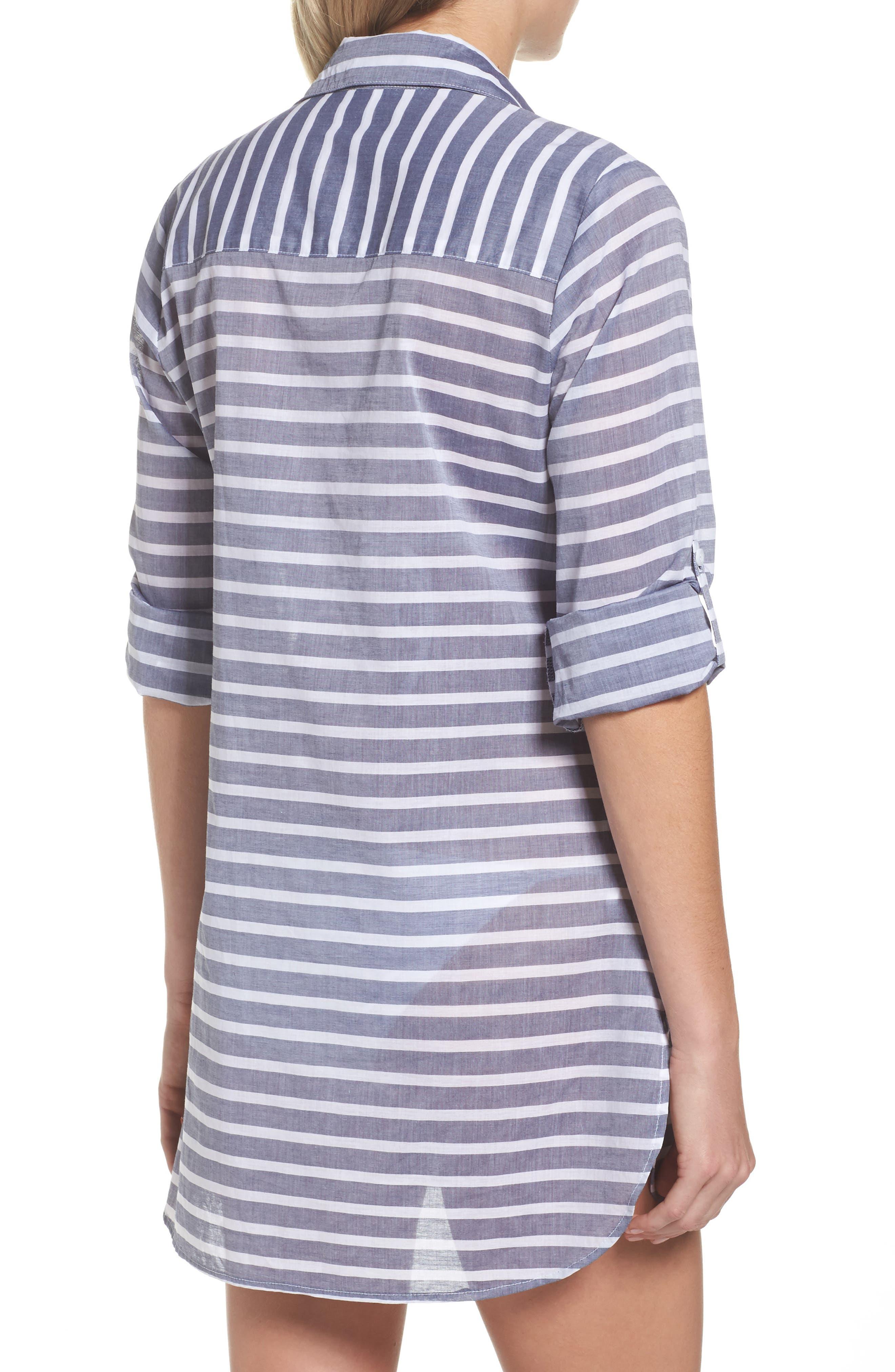 Brenton Stripe Boyfriend Shirt Cover-Up,                             Alternate thumbnail 2, color,                             401