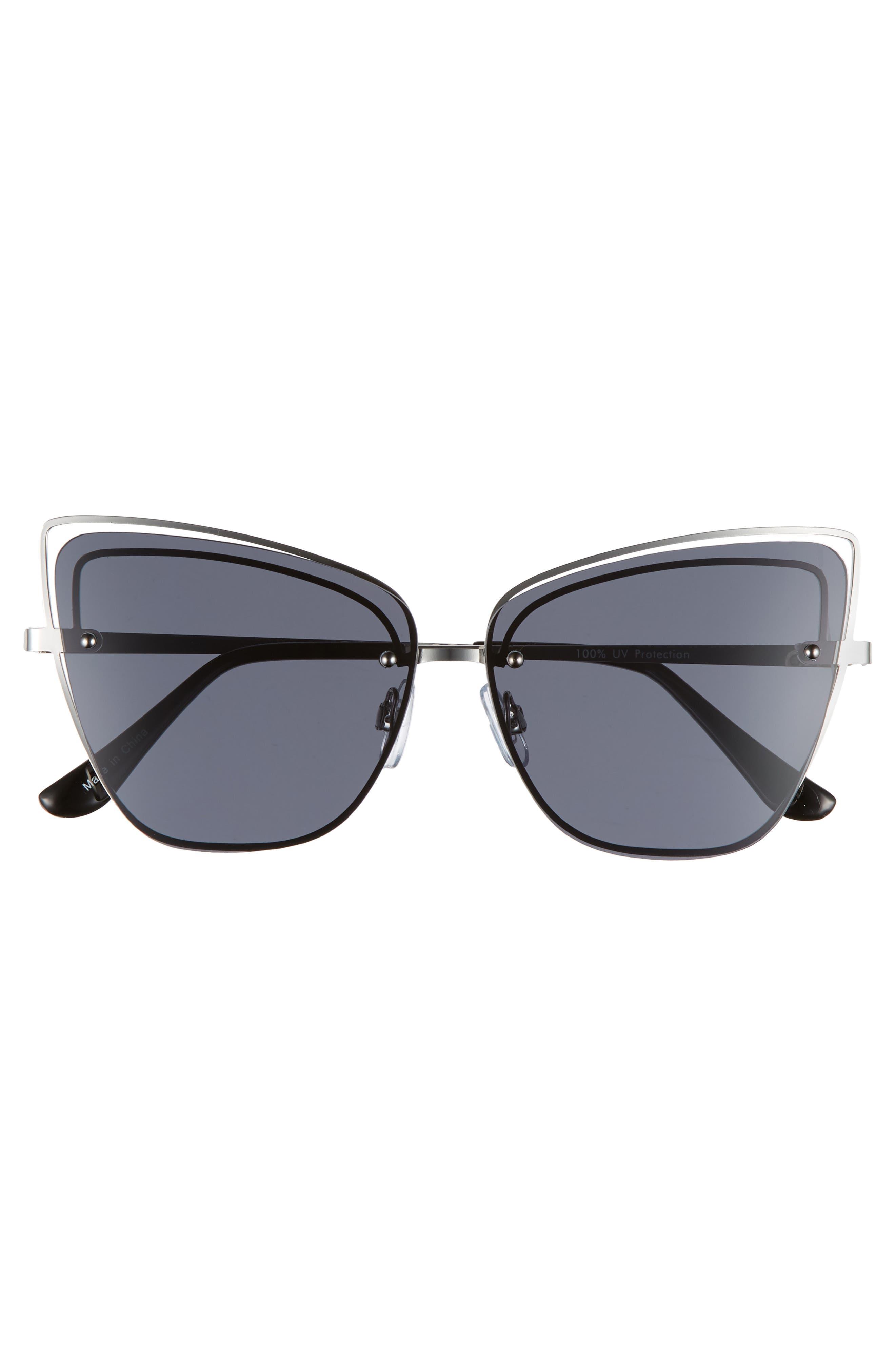 Dainty 53mm Rimless Cat Eye Sunglasses,                             Alternate thumbnail 3, color,                             SILVER/ BLACK