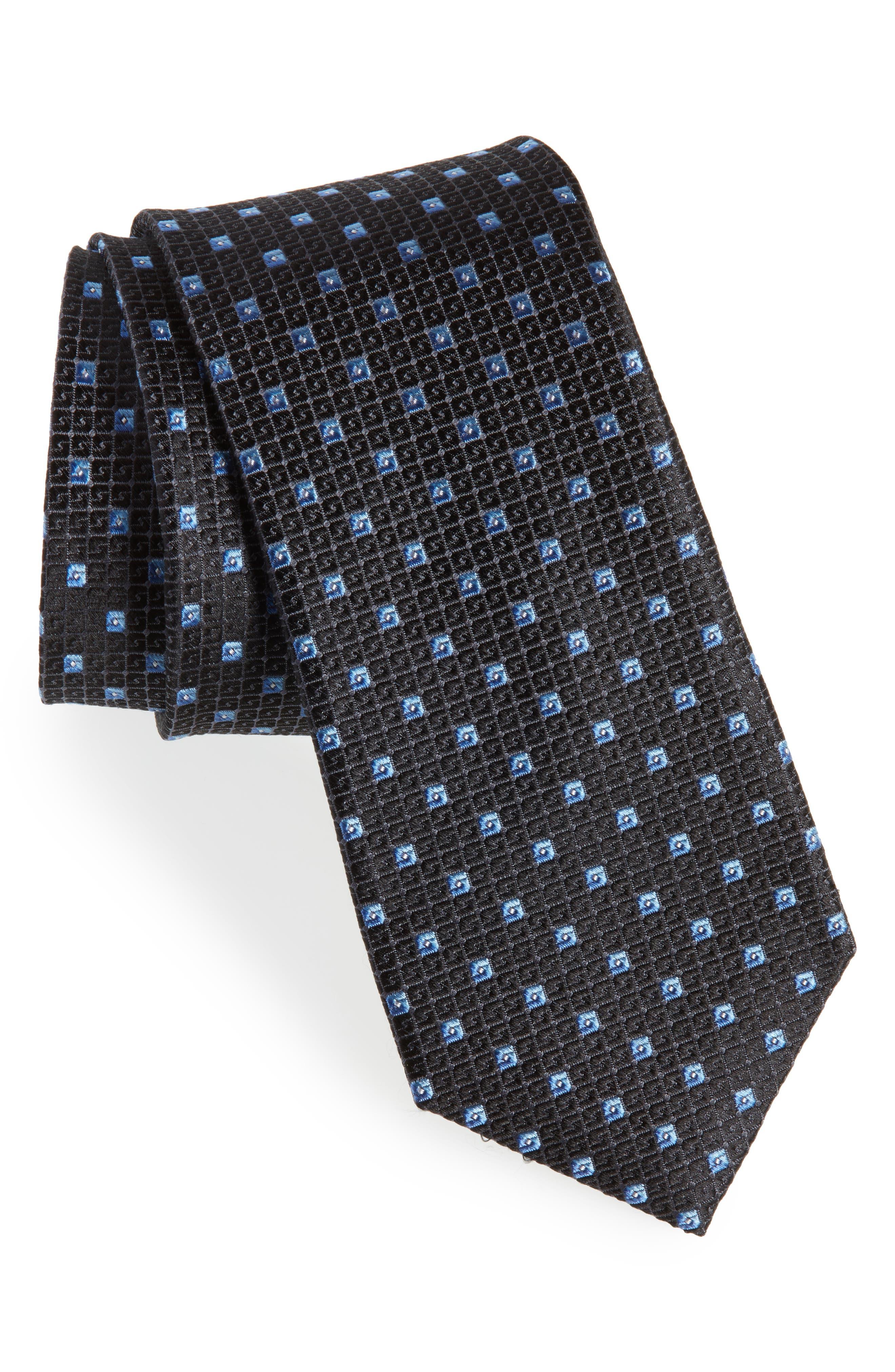 Mauro Neat Silk Tie,                         Main,                         color, BLACK