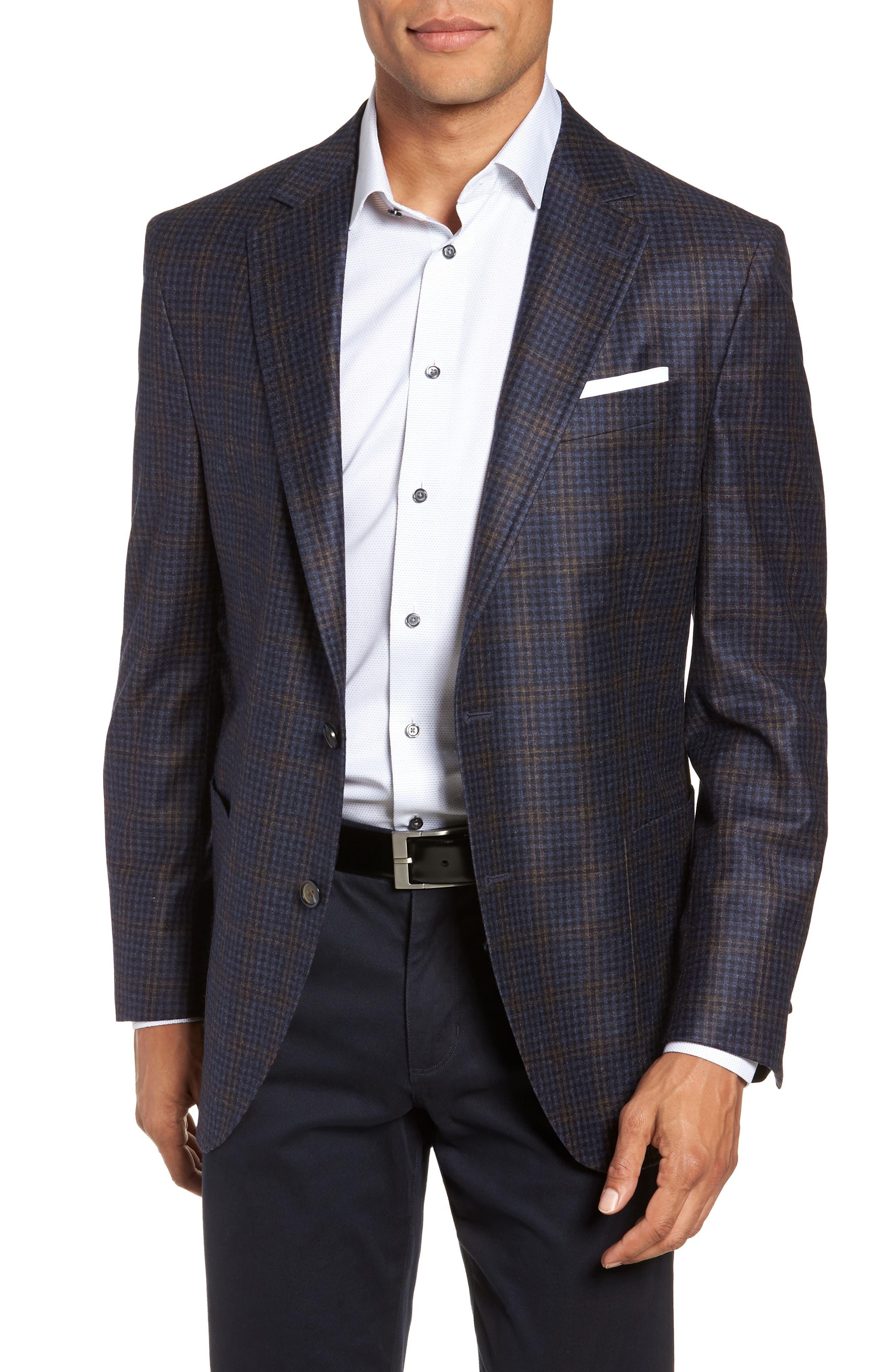 PETER MILLAR Classic Fit Check Wool Sport Coat, Main, color, NAVY