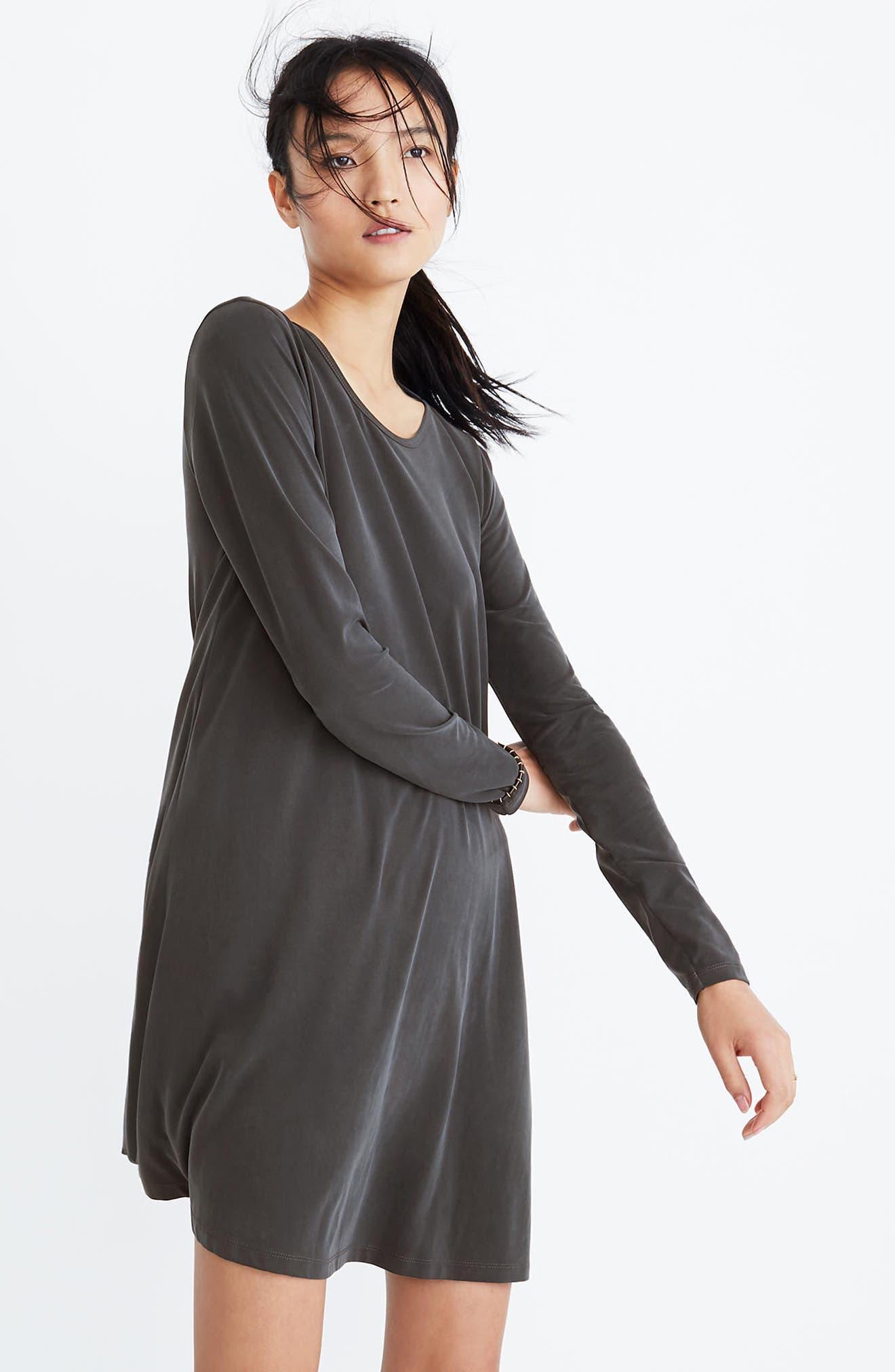 Sandwashed Swingy T-Shirt Dress,                             Alternate thumbnail 3, color,                             001