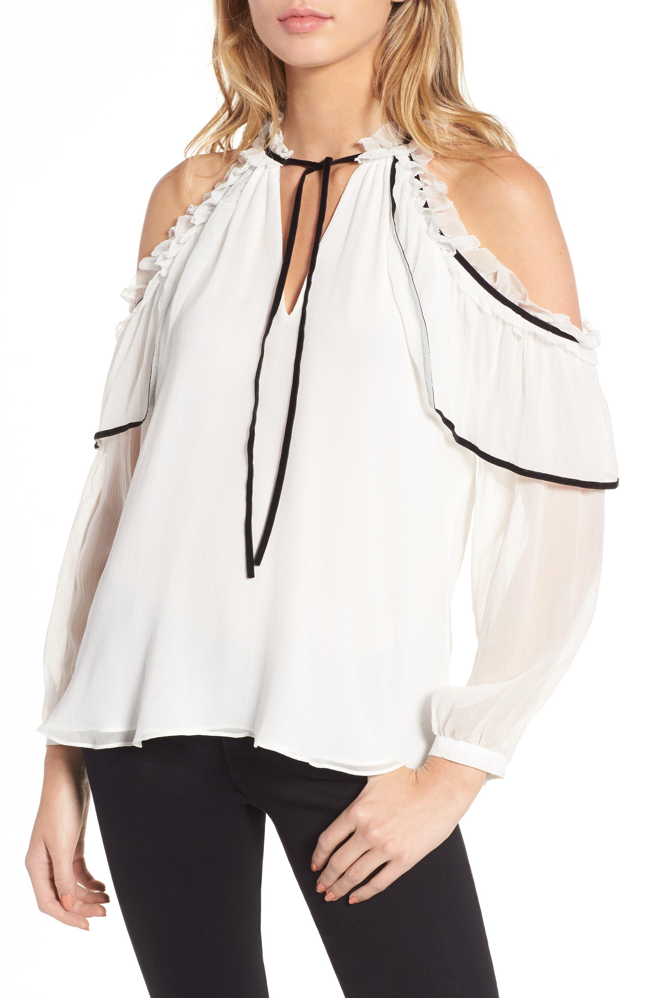 Ventura Cold Shoulder Silk Blouse,                             Main thumbnail 1, color,