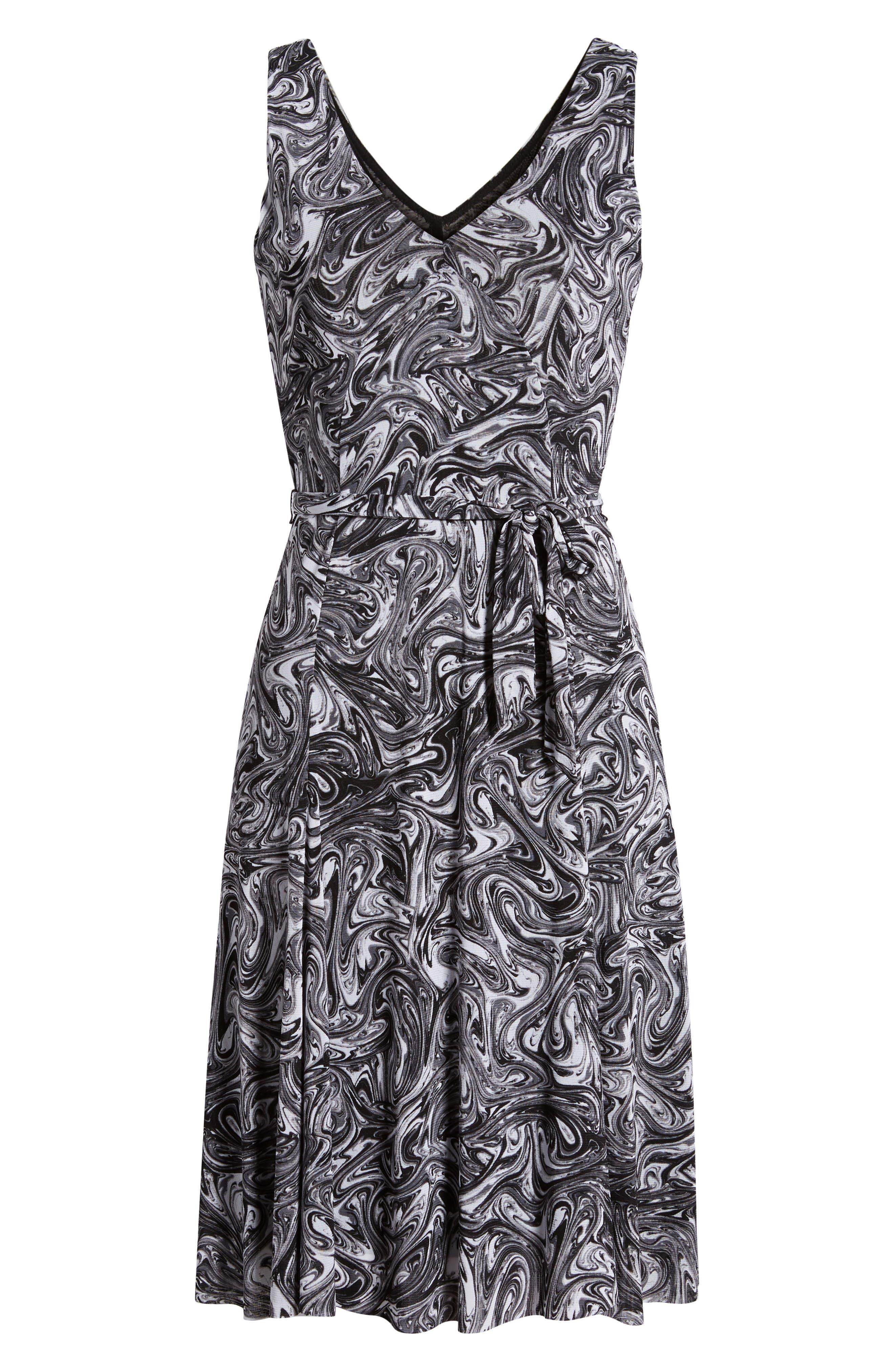 Watermark Swirl Flare Tank Dress,                             Alternate thumbnail 7, color,                             001