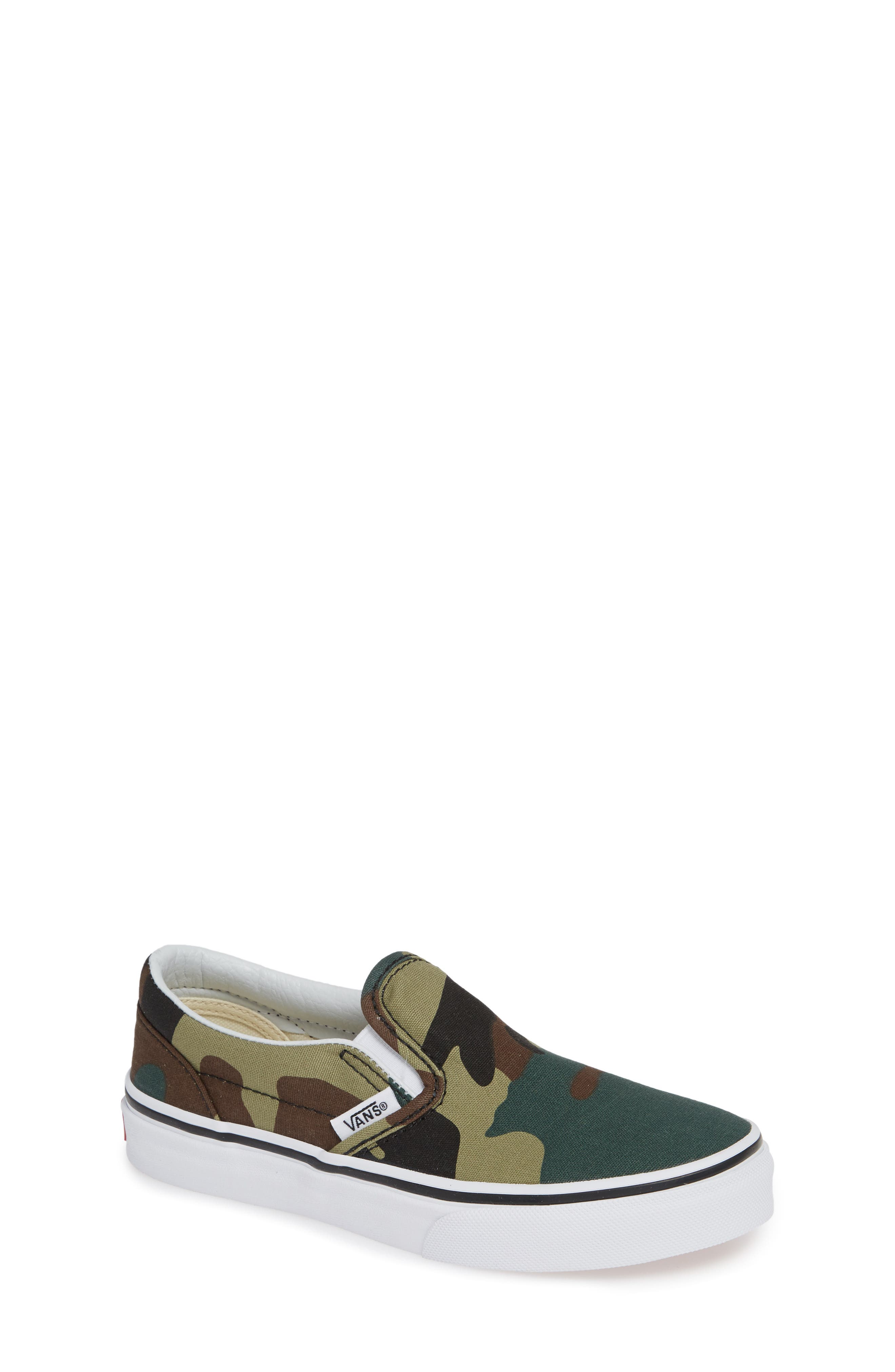Classic Slip-On Sneaker,                             Main thumbnail 1, color,                             WOODLAND CAMO BLACK/ WOODLAND