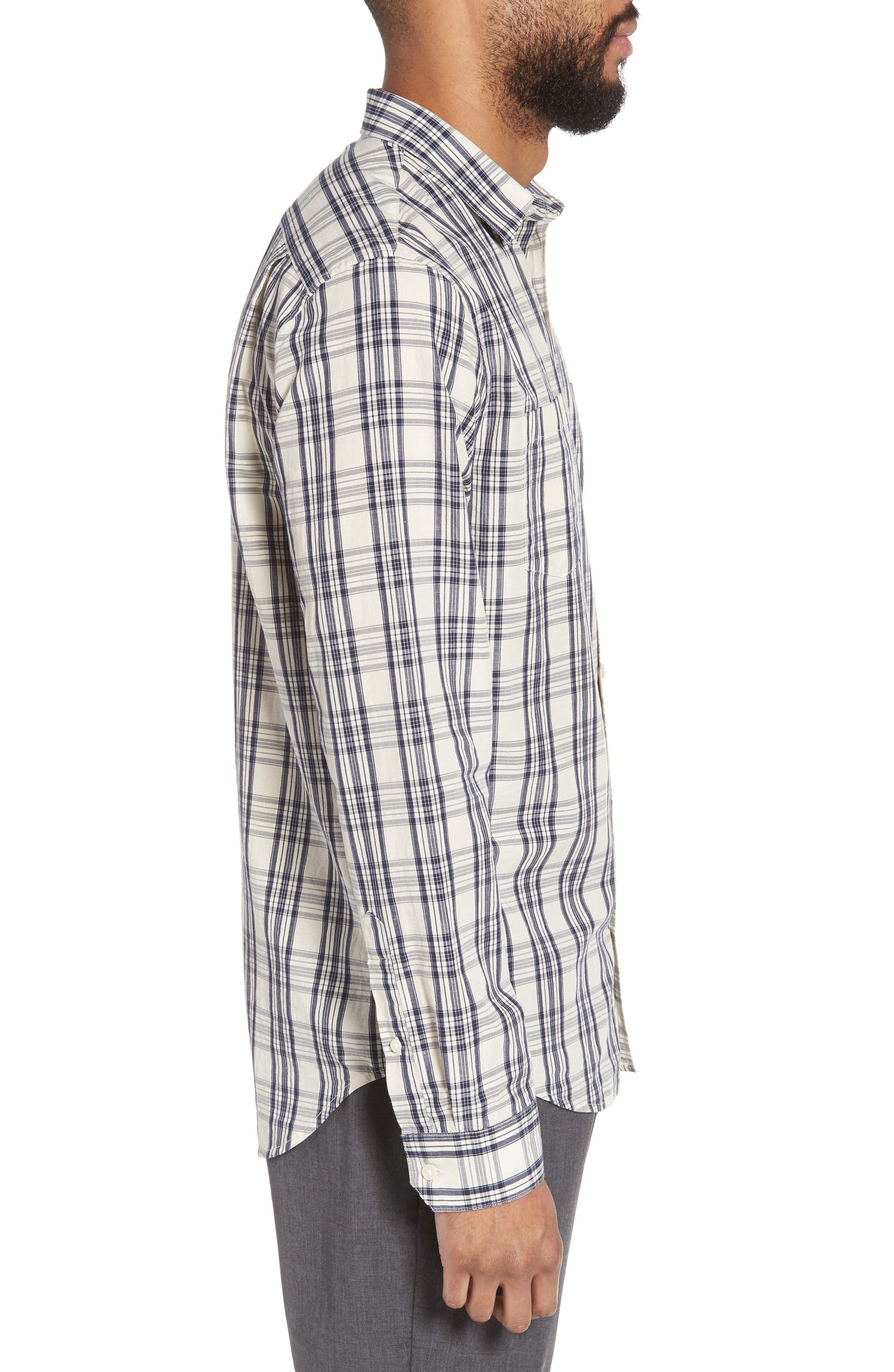 Slim Fit Plaid Sport Shirt,                             Alternate thumbnail 3, color,                             020
