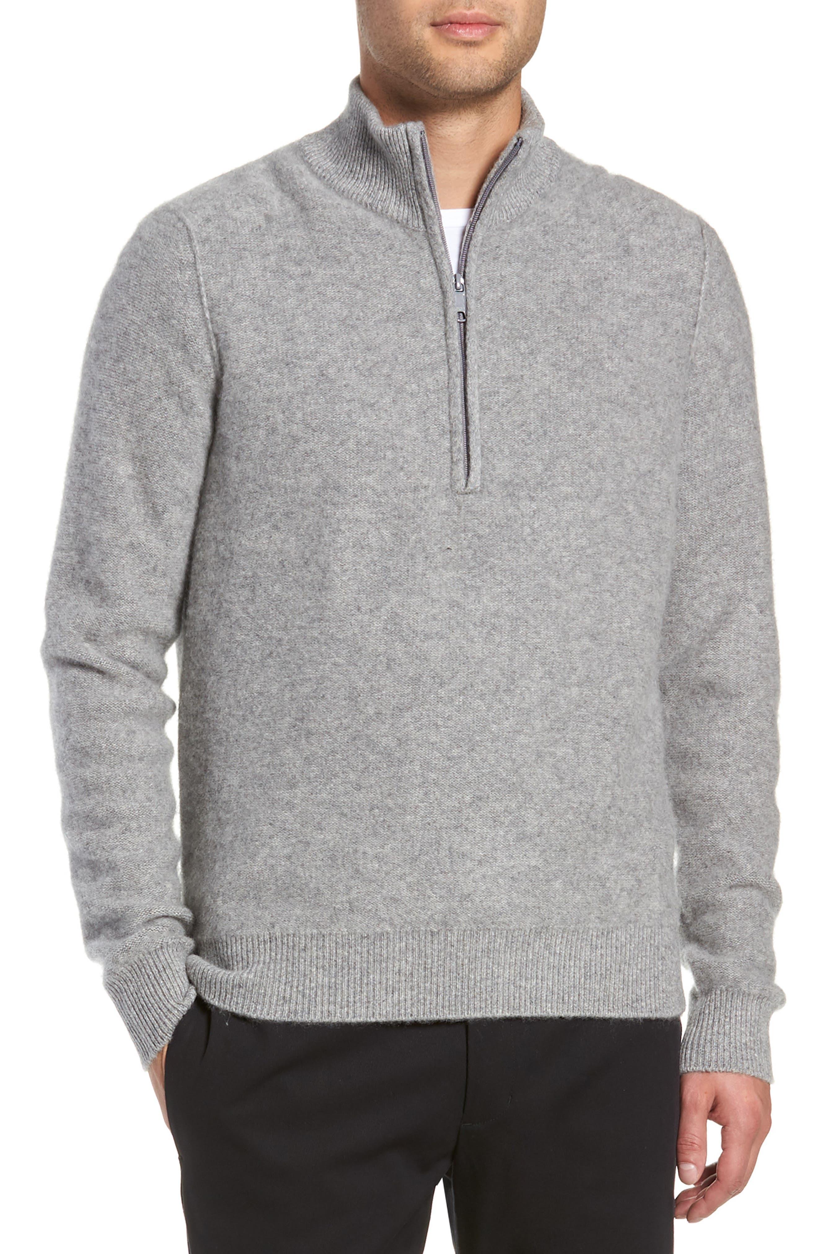 Cashmere Quarter Zip Sweater,                             Main thumbnail 1, color,                             H GREY