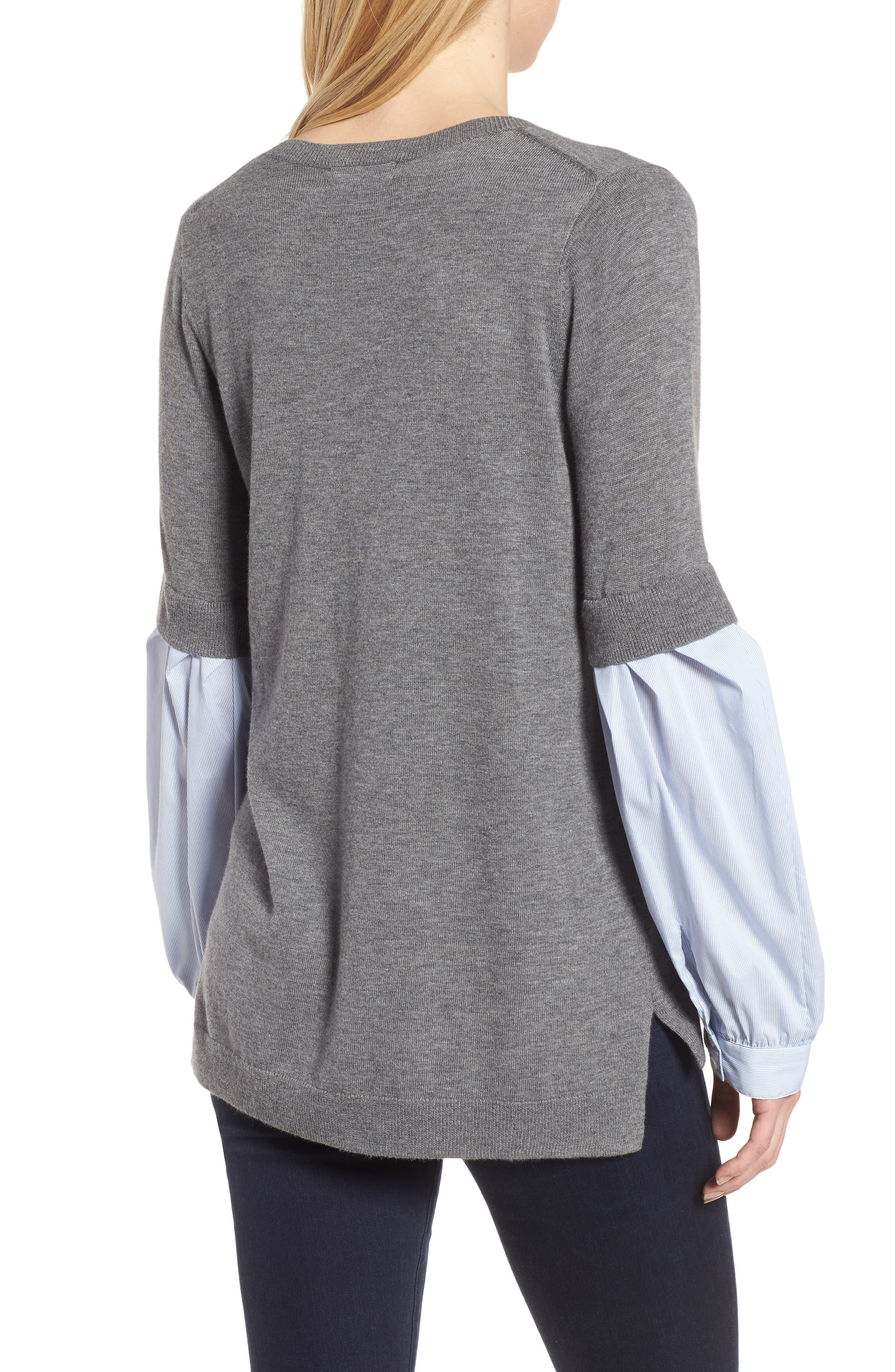 Woven Sleeve Sweater,                             Alternate thumbnail 2, color,                             030