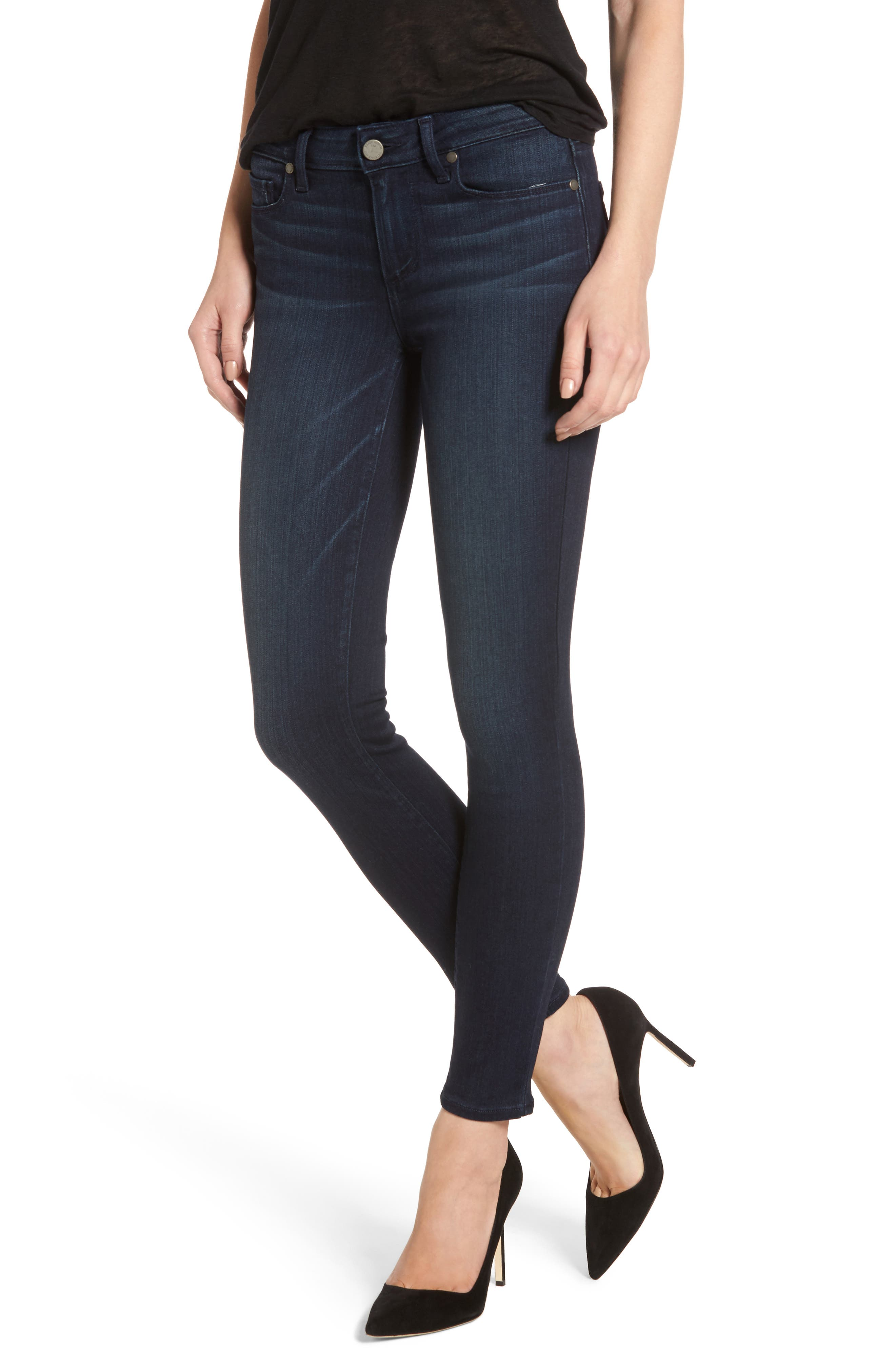Transcend - Verdugo Ankle Skinny Jeans, Main, color, MIDLAKE