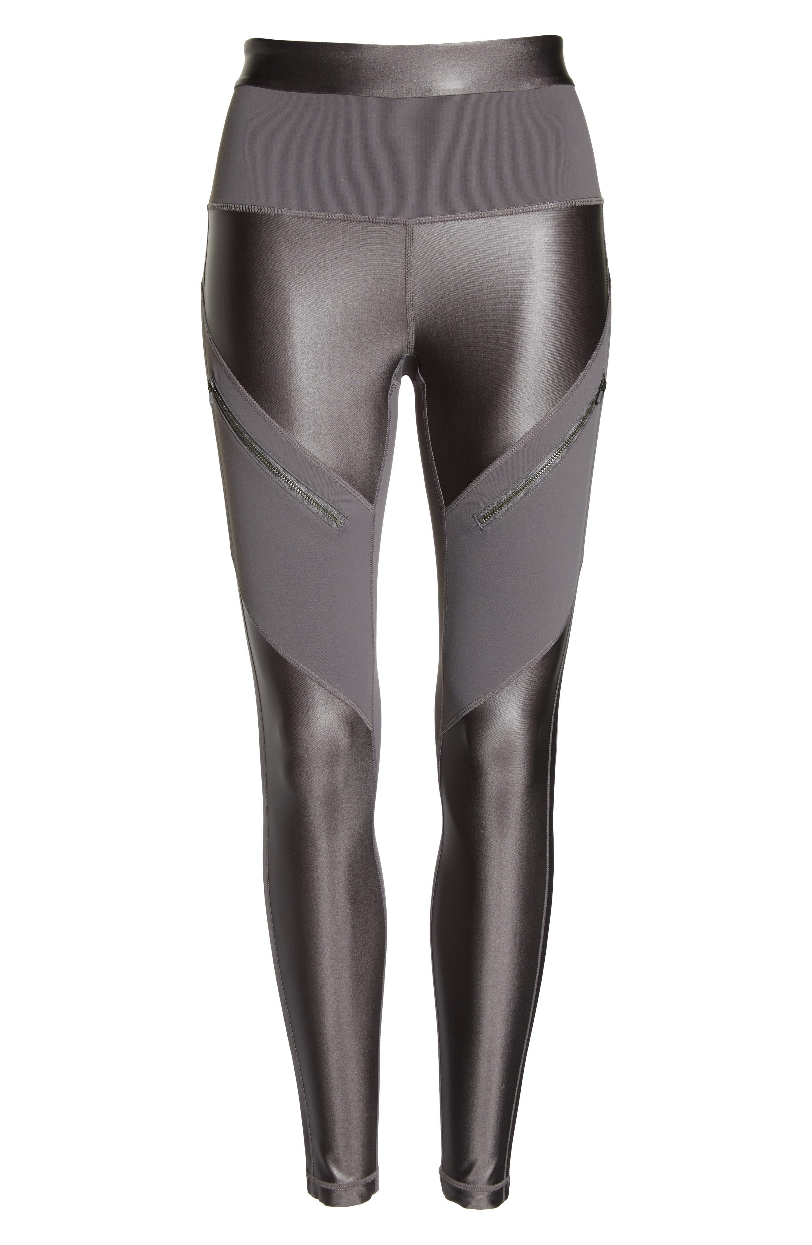 ZELLA,                             Shine Zip High Waist Ankle Leggings,                             Alternate thumbnail 7, color,                             021