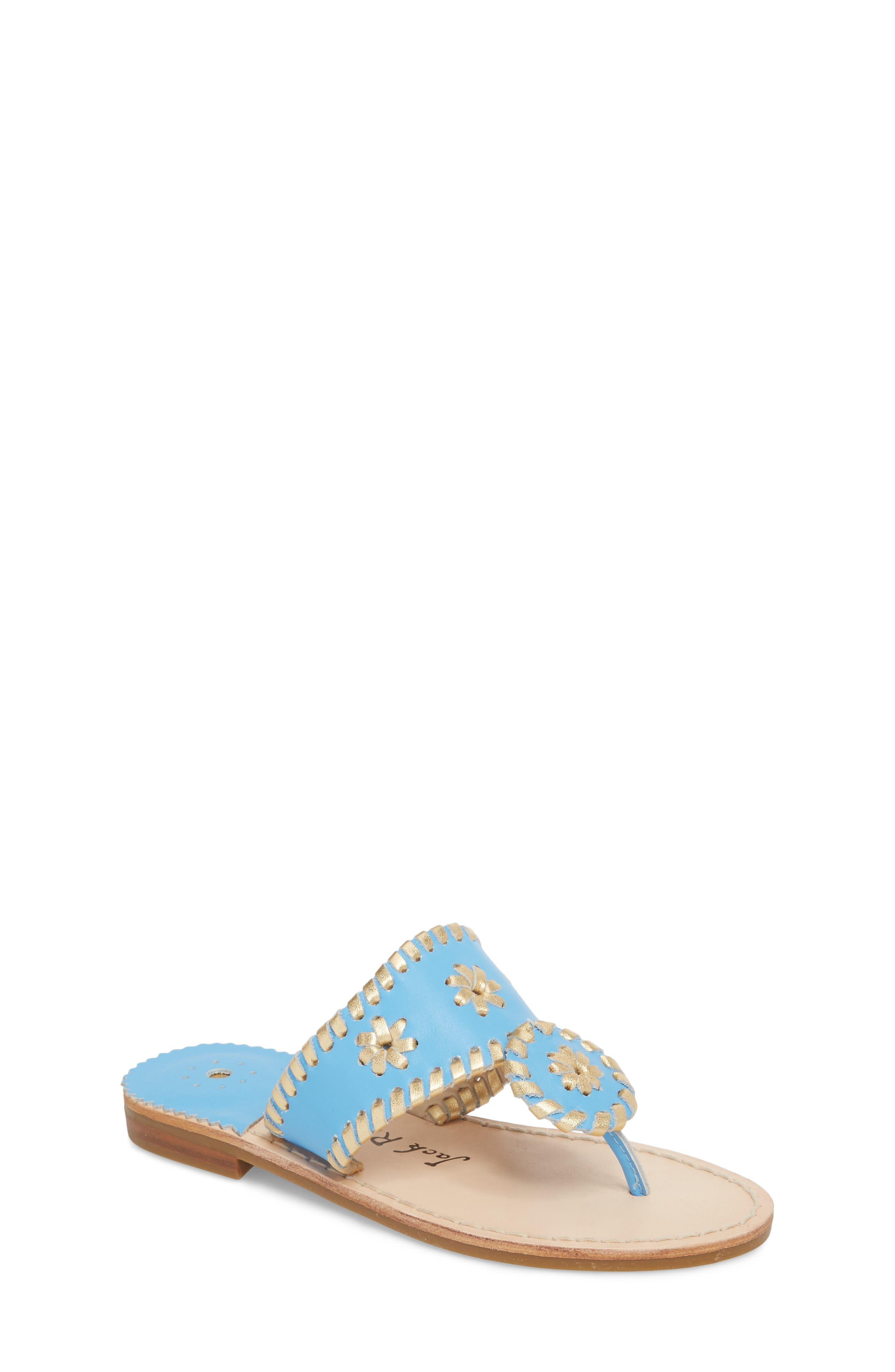 Miss Hollis Metallic Trim Thong Sandal,                             Main thumbnail 1, color,                             FRENCH BLUE/ GOLD LEATHER