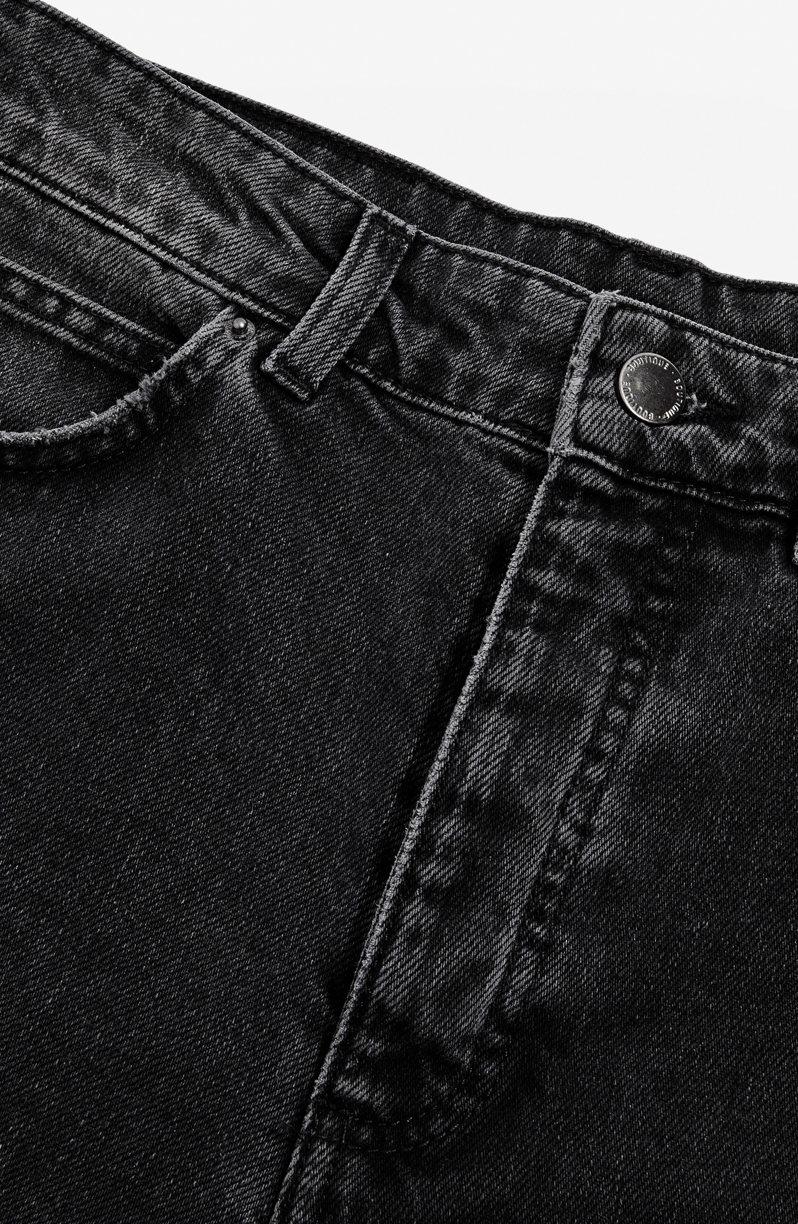 Washed Black Moto Straight Leg Jeans,                             Alternate thumbnail 3, color,                             003