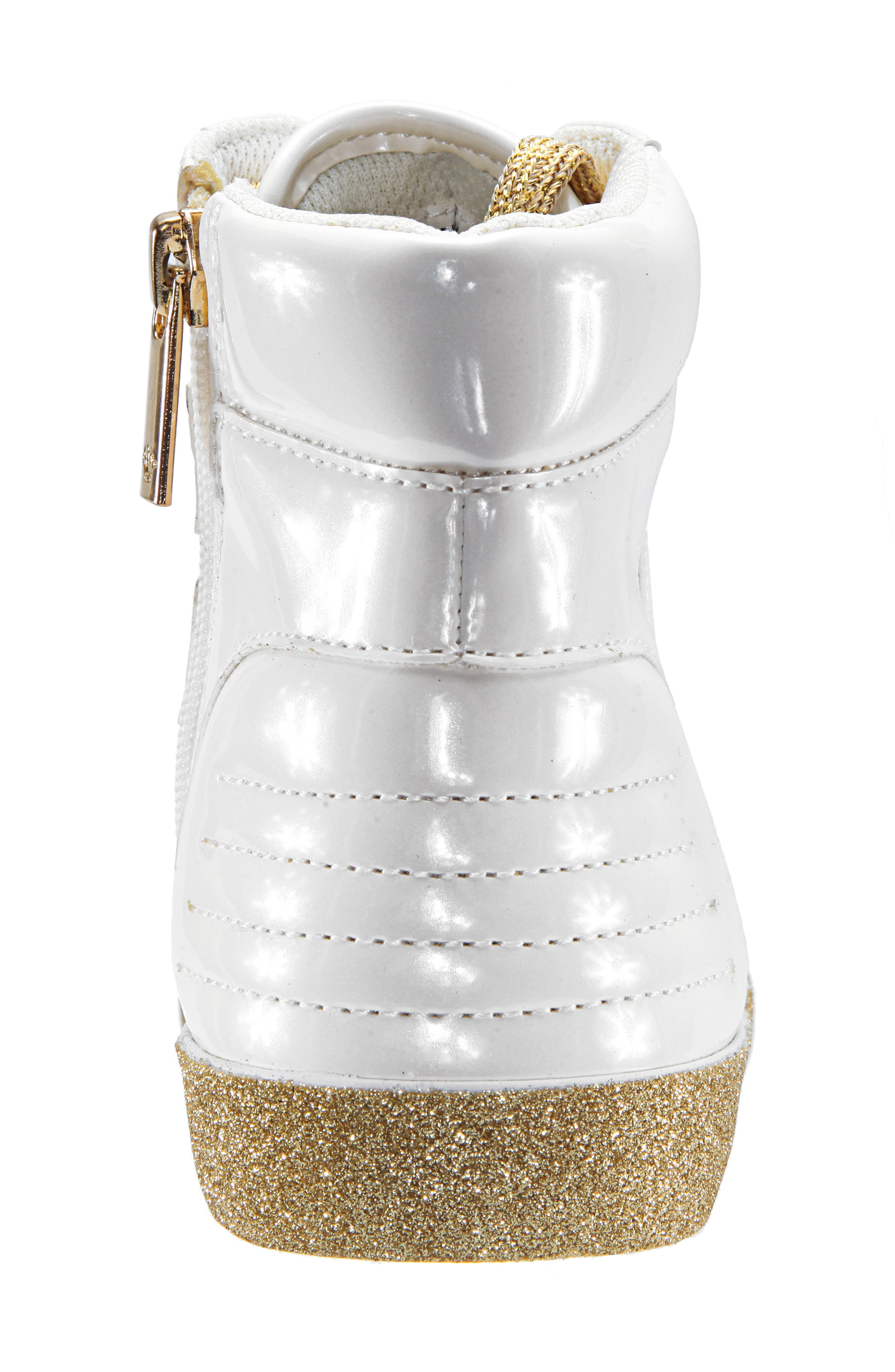 Jesy Glitter High Top Sneaker,                             Alternate thumbnail 7, color,                             WHITE PEARLIZED PATENT