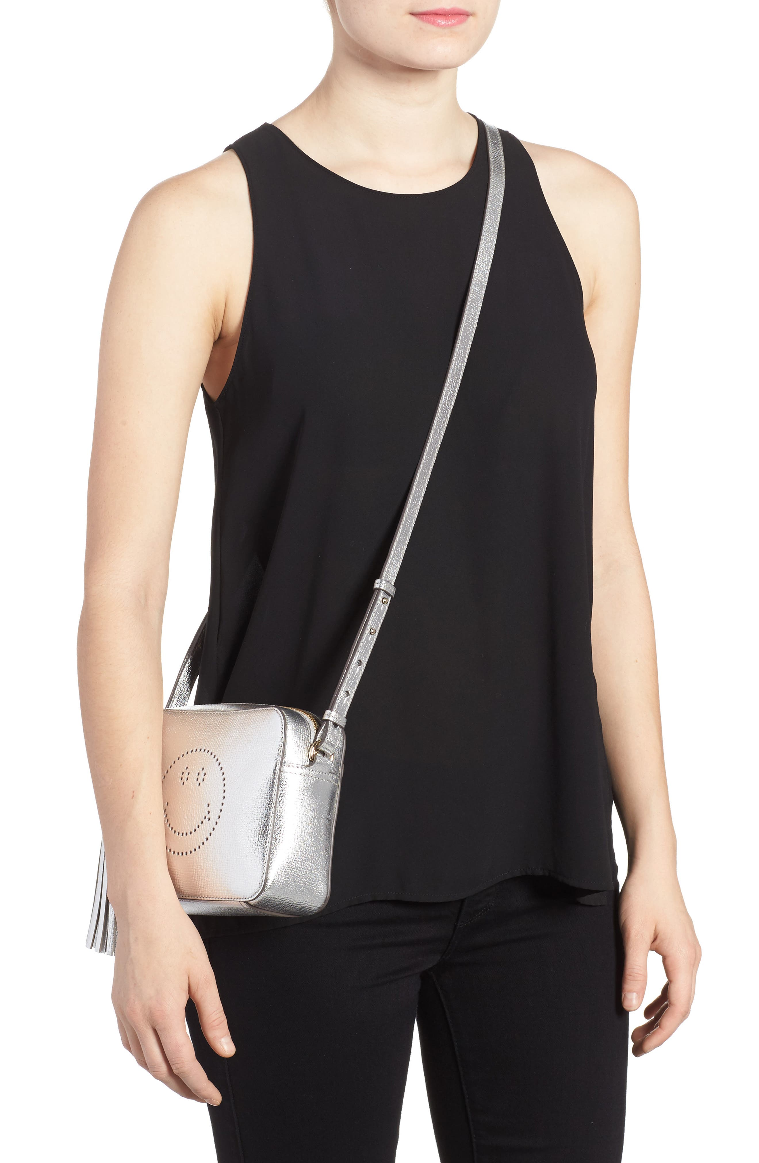 Smiley Metallic Leather Crossbody Bag,                             Alternate thumbnail 2, color,                             SILVER