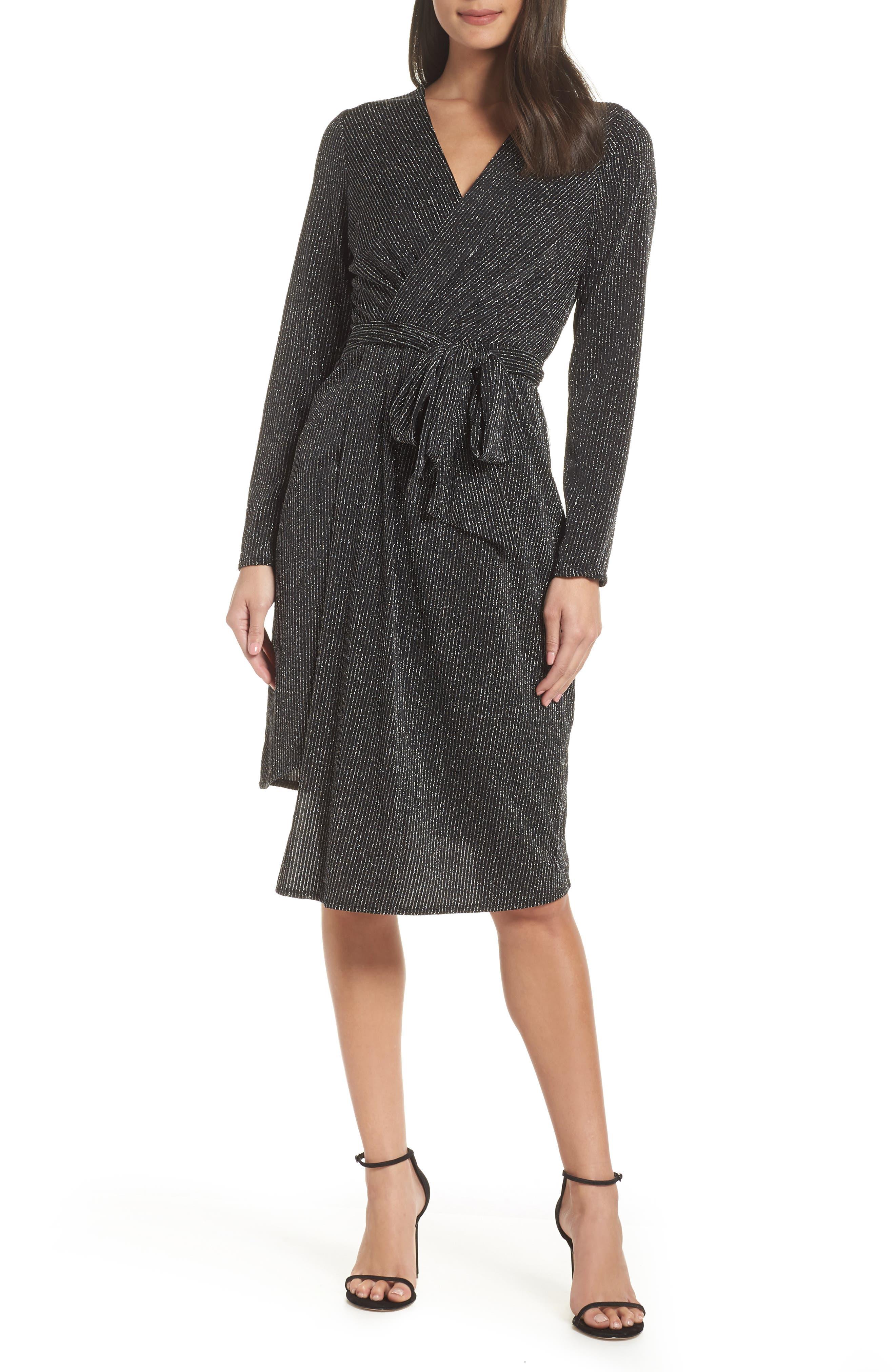 SAM EDELMAN Metallic Faux Wrap Knit Dress, Main, color, SILVER METALLIC