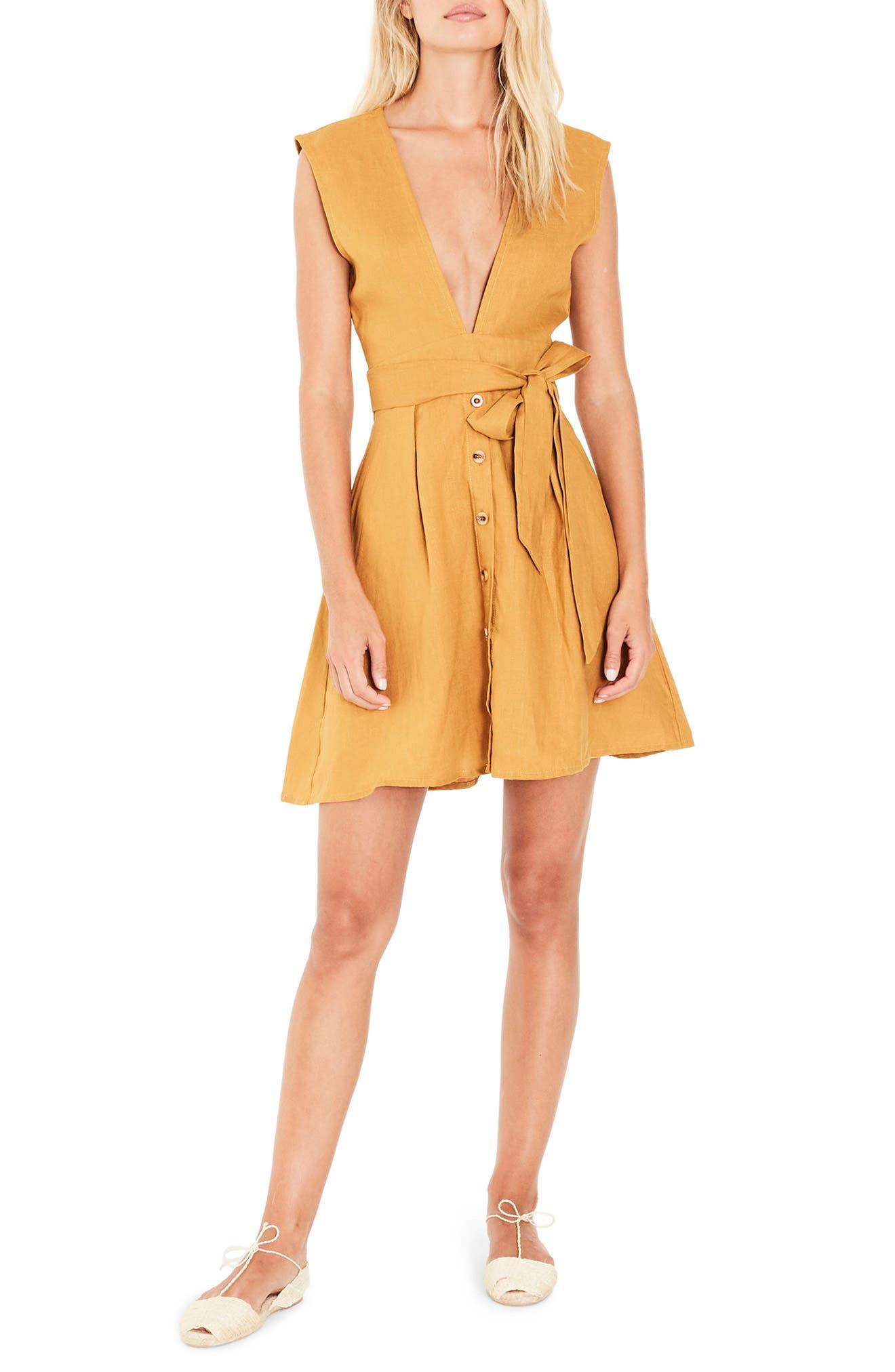 Bari Tie Waist Linen Dress,                             Main thumbnail 1, color,                             701