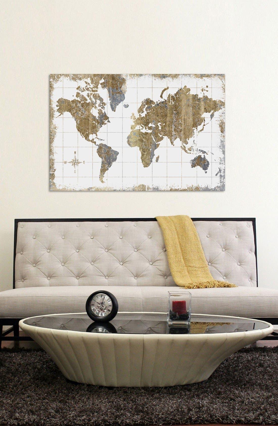 'Gilded Map' Giclée Print Canvas Art,                             Alternate thumbnail 2, color,                             WHITE
