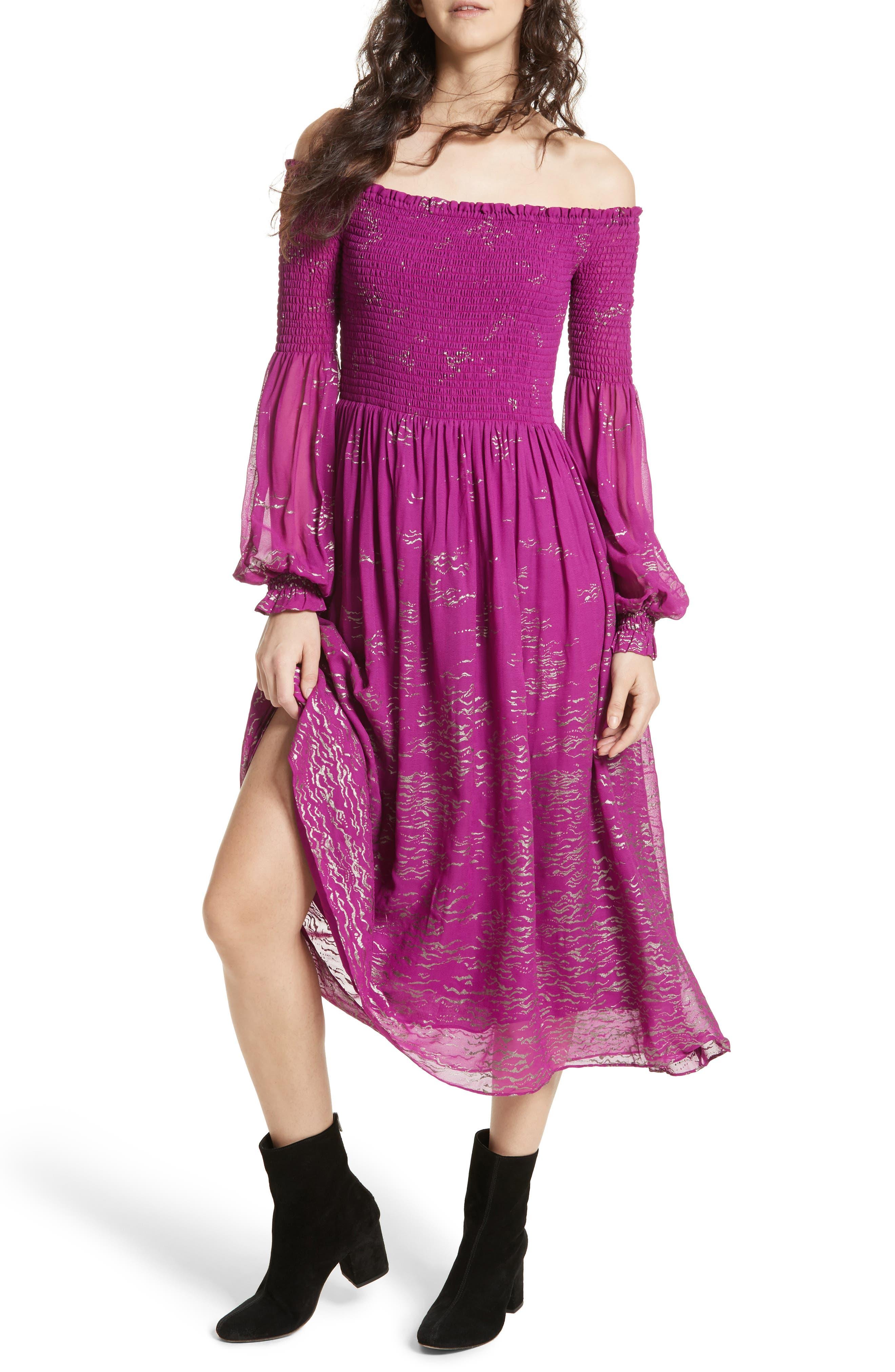 Foiled Smocked Midi Dress,                             Main thumbnail 2, color,