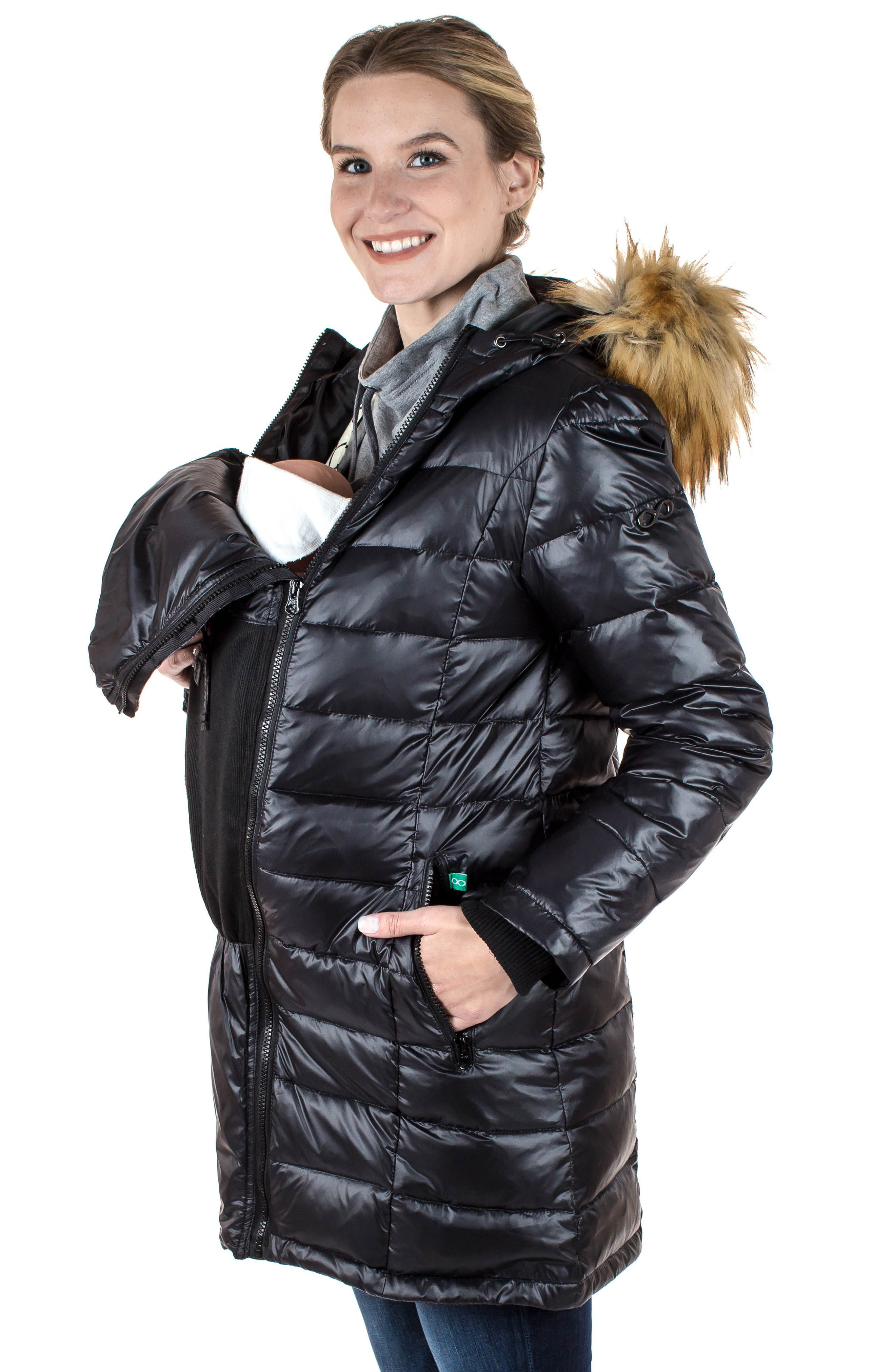 Quilted 3-in-1 Maternity/Nursing Parka,                             Alternate thumbnail 12, color,                             BLACK