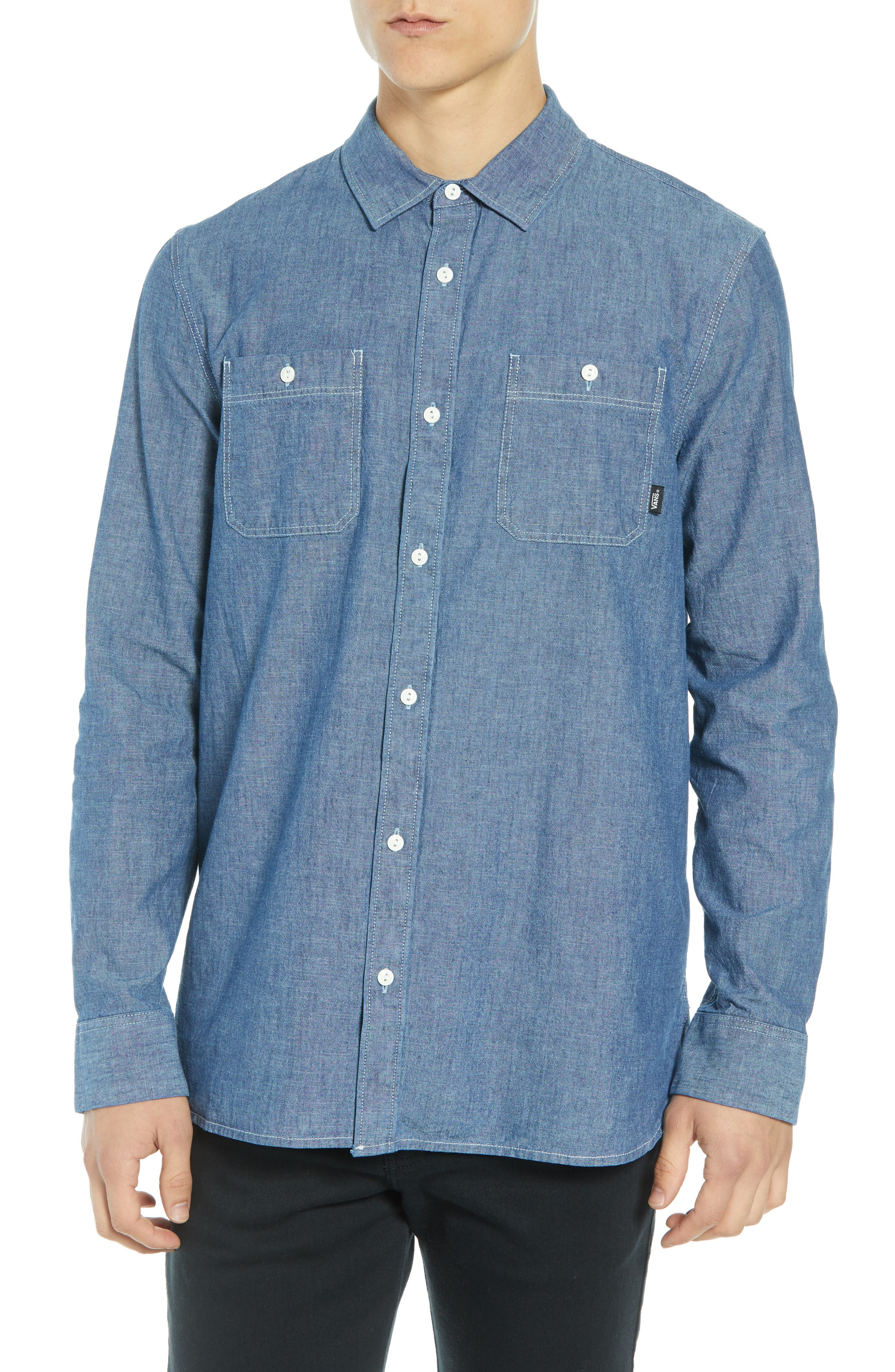 Carlow Chambray Shirt,                             Main thumbnail 1, color,                             INDIGO CHAMBRAY