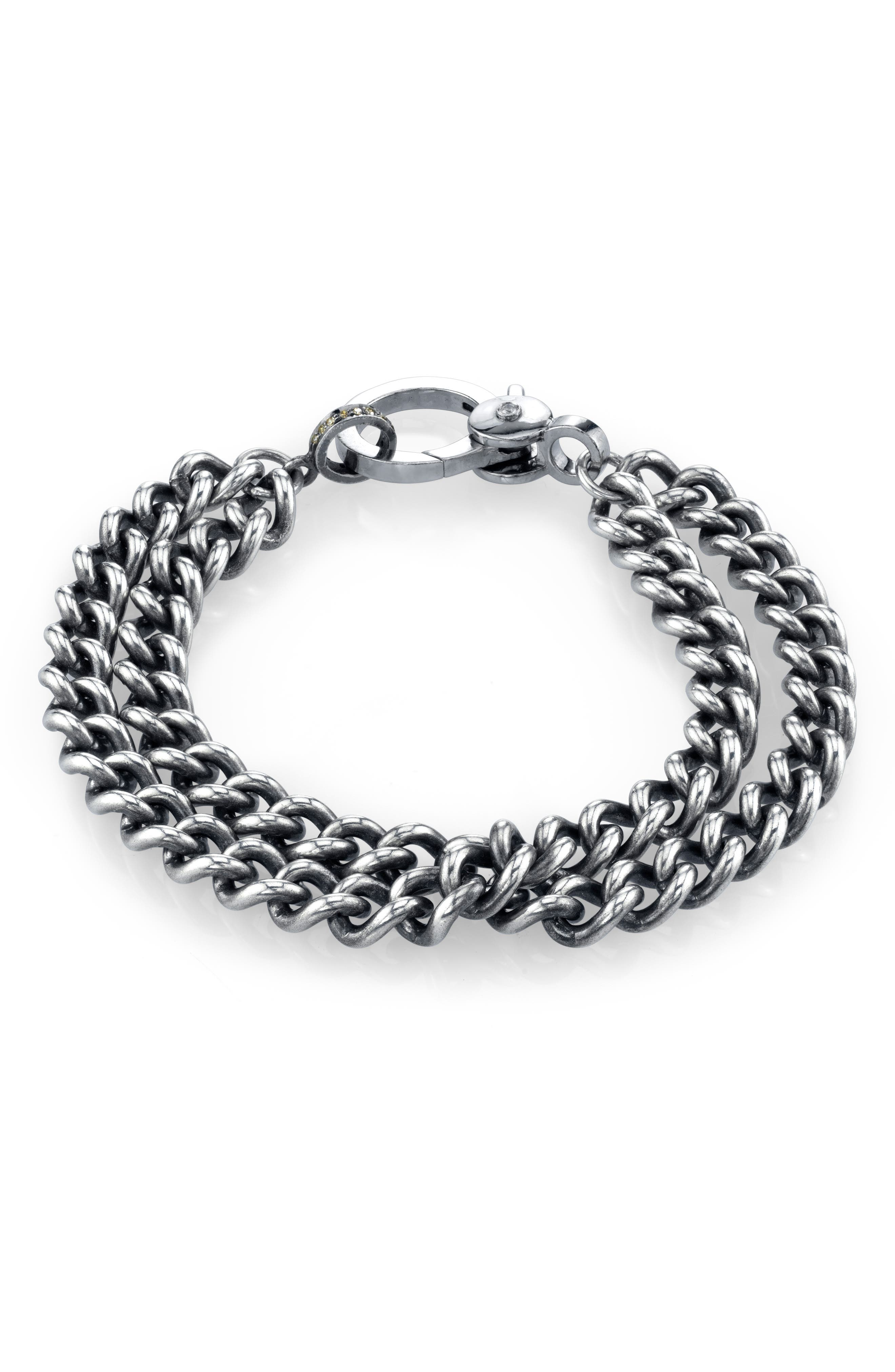 Double Curb Chain Bracelet in Sterling Silver