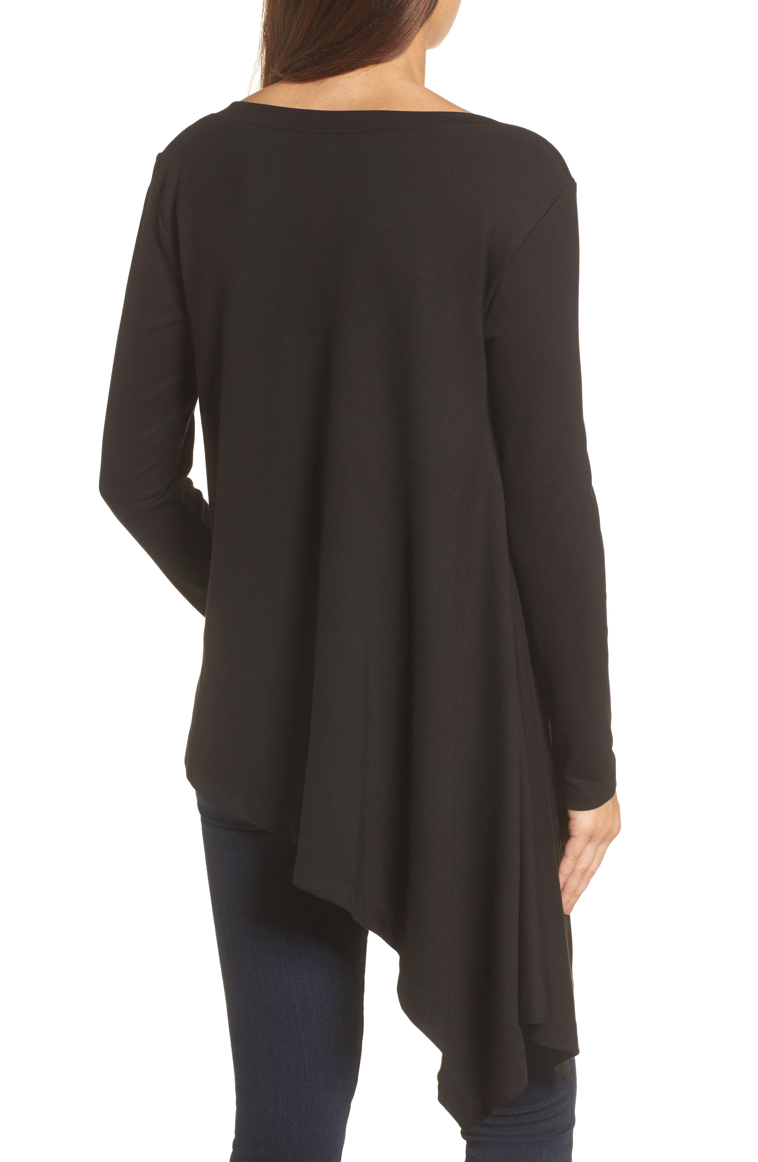 Boatneck Asymmetrical Tunic,                             Alternate thumbnail 2, color,                             BLACK