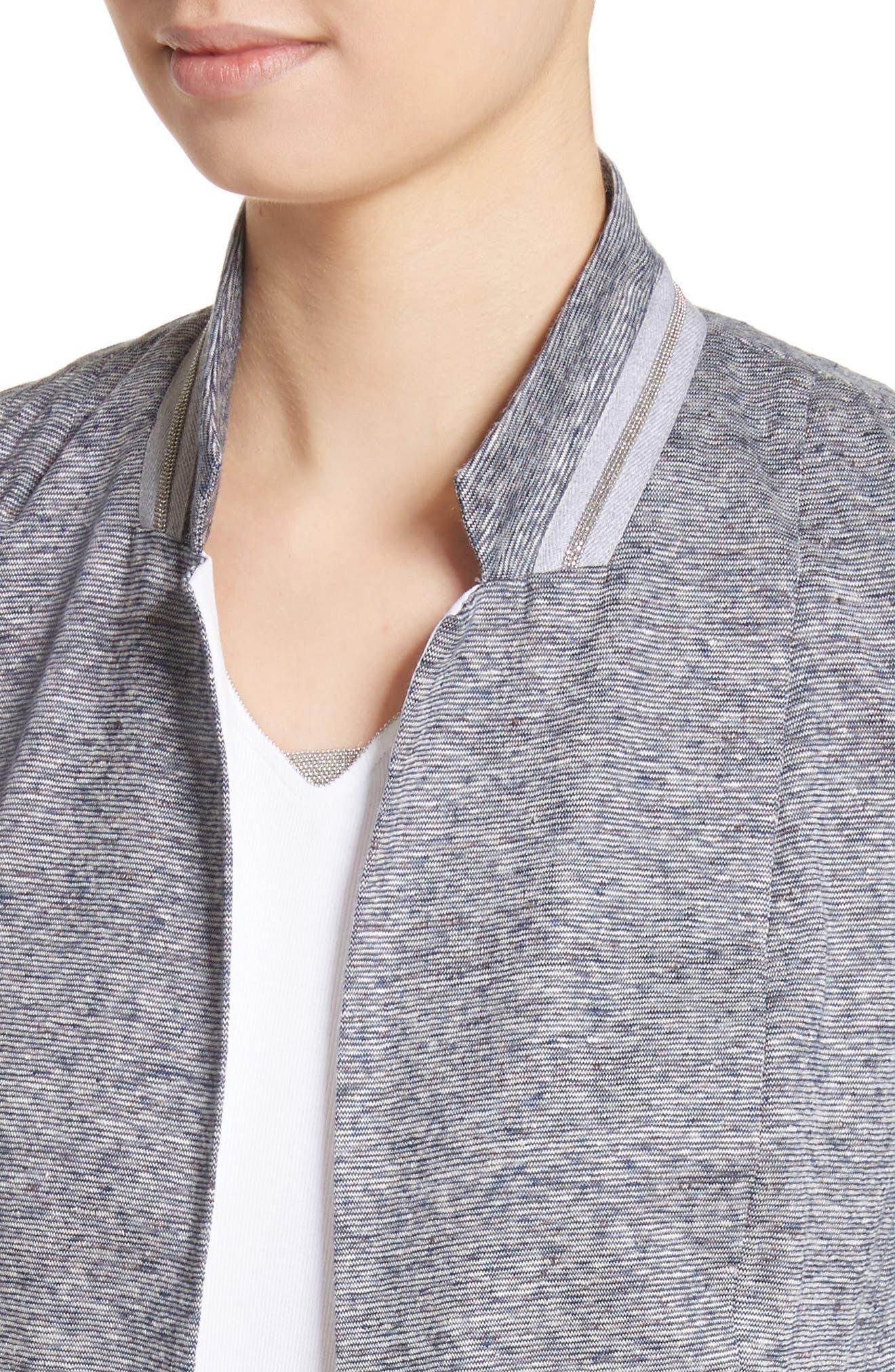 Grosgrain Stripe Jersey Jacket,                             Alternate thumbnail 4, color,                             400