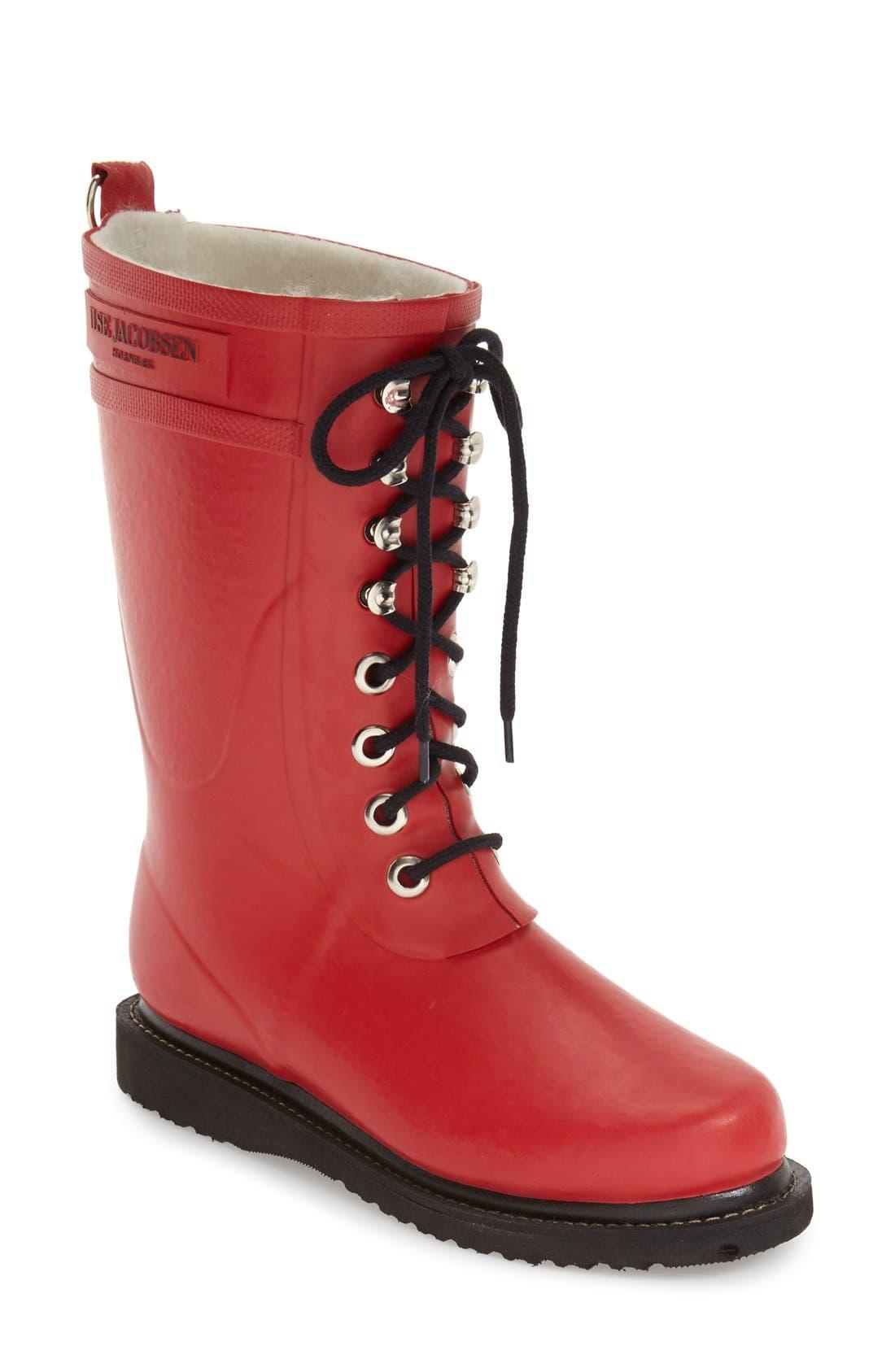 Ilse Jacobsen Rubber Waterproof Boot, Red