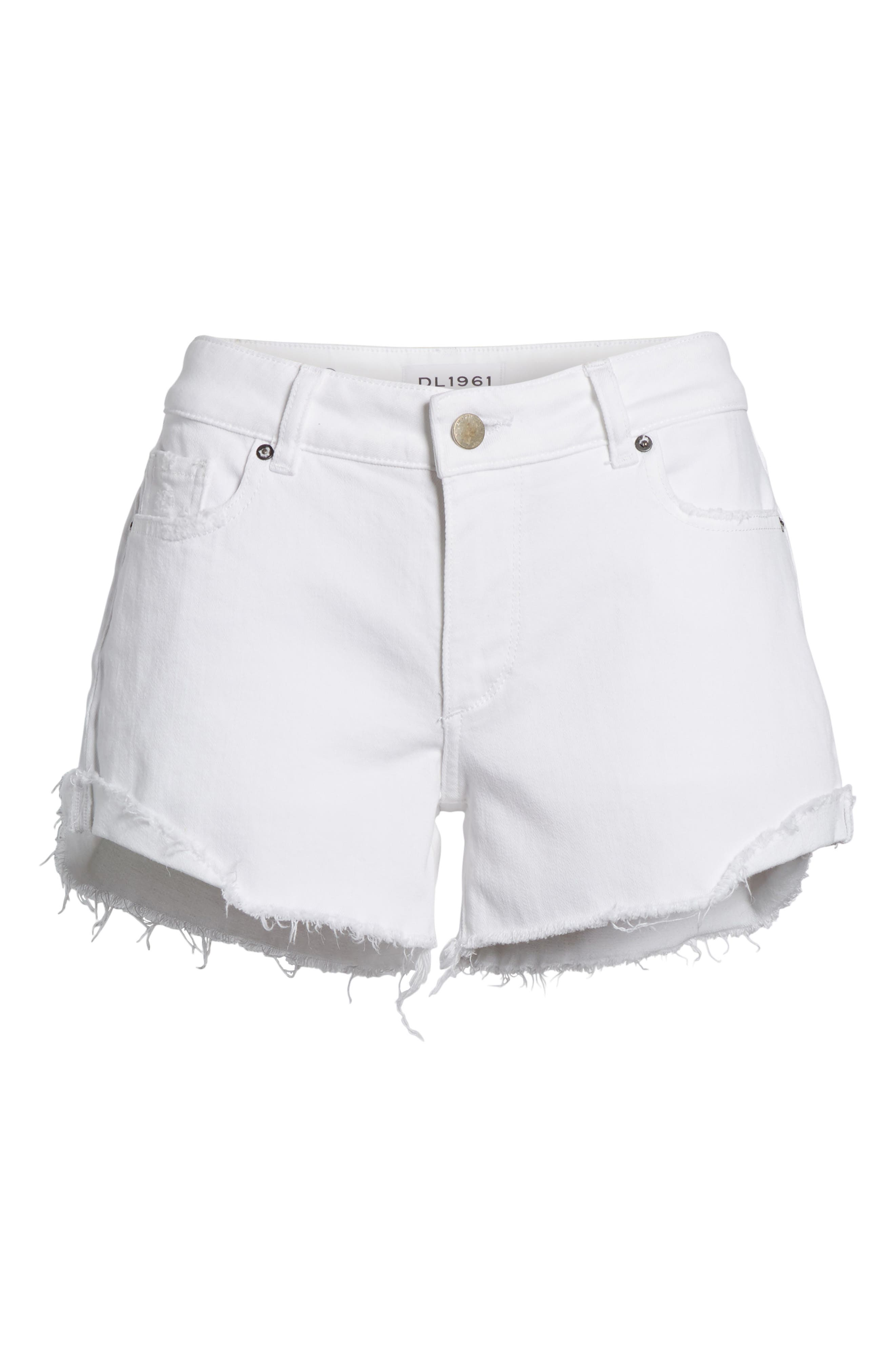 Karlie Cutoff Denim Boyfriend Shorts,                             Alternate thumbnail 6, color,                             100