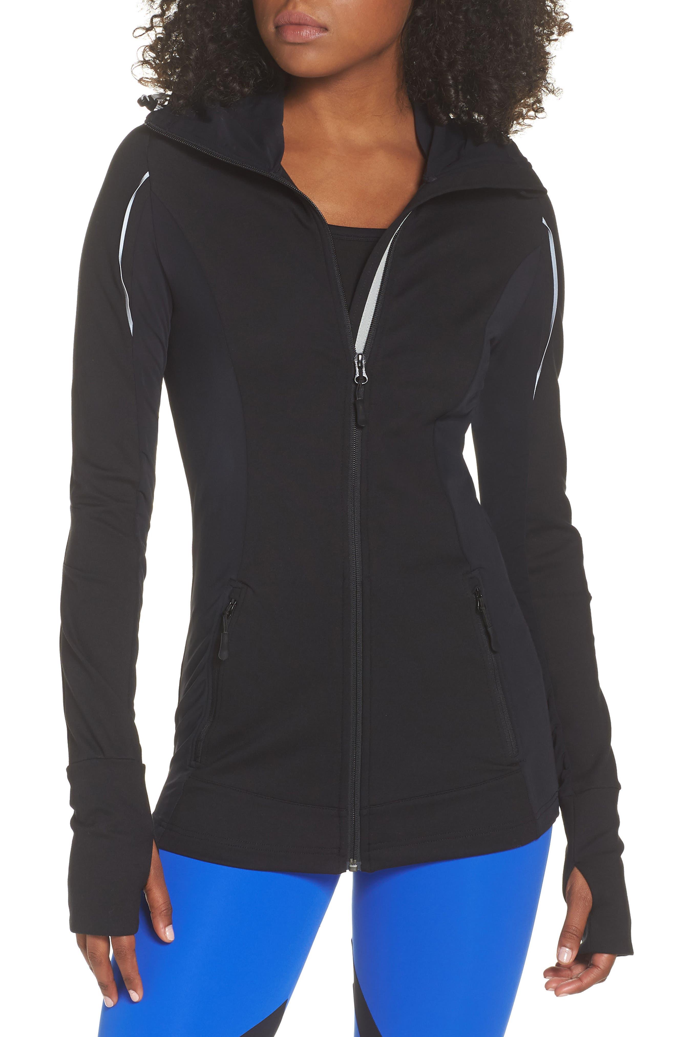 BoomBoom Athletica Zip Hoodie,                         Main,                         color, BLACK