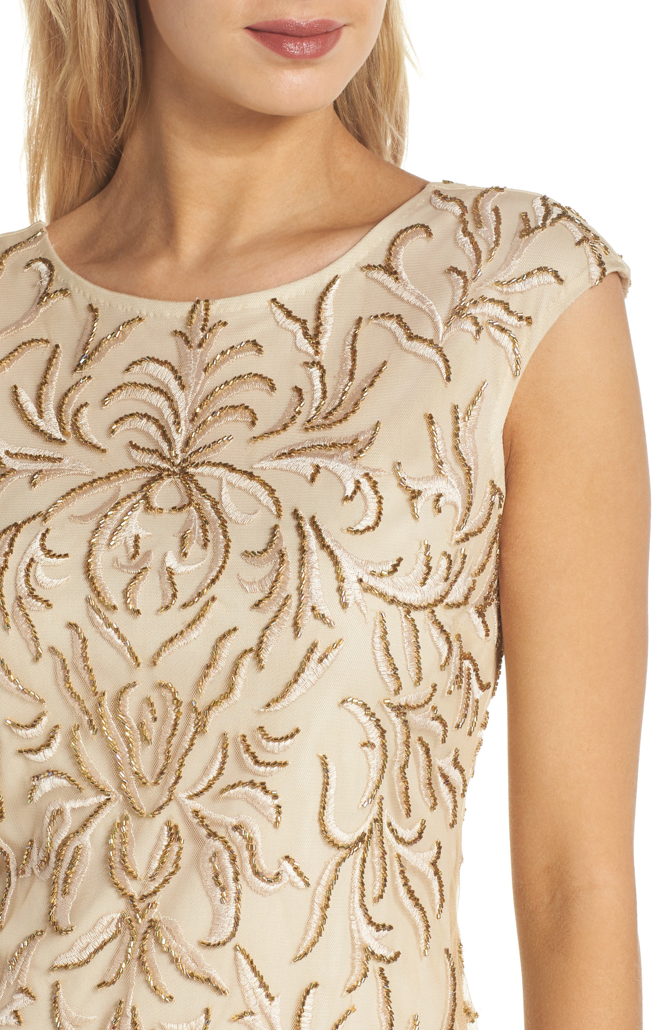 Beaded & Embroidered Cocktail Dress,                             Alternate thumbnail 4, color,                             CHAMPAGNE