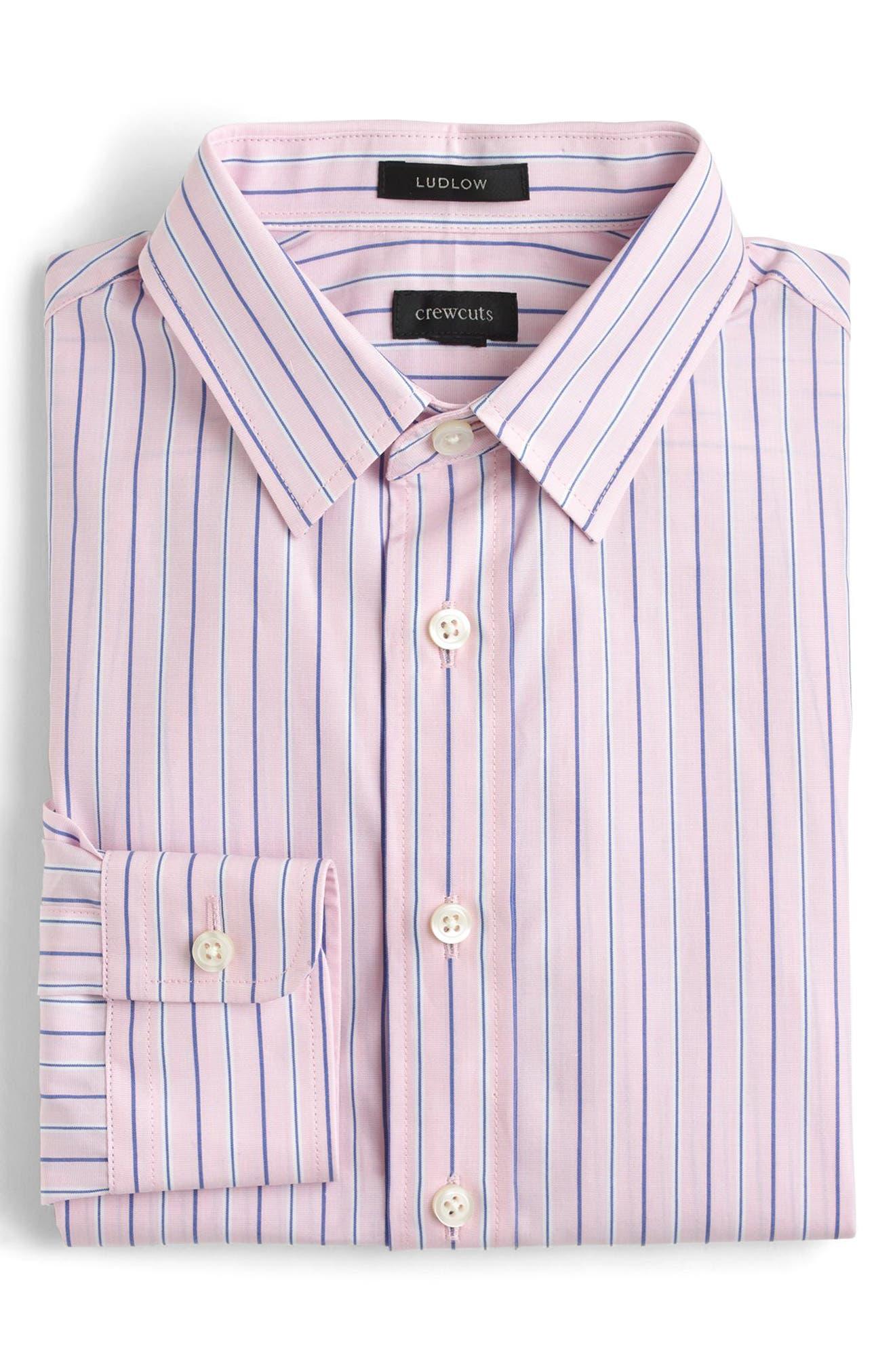 Ludlow Stripe Dress Shirt,                         Main,                         color, VINTAGE ROSE