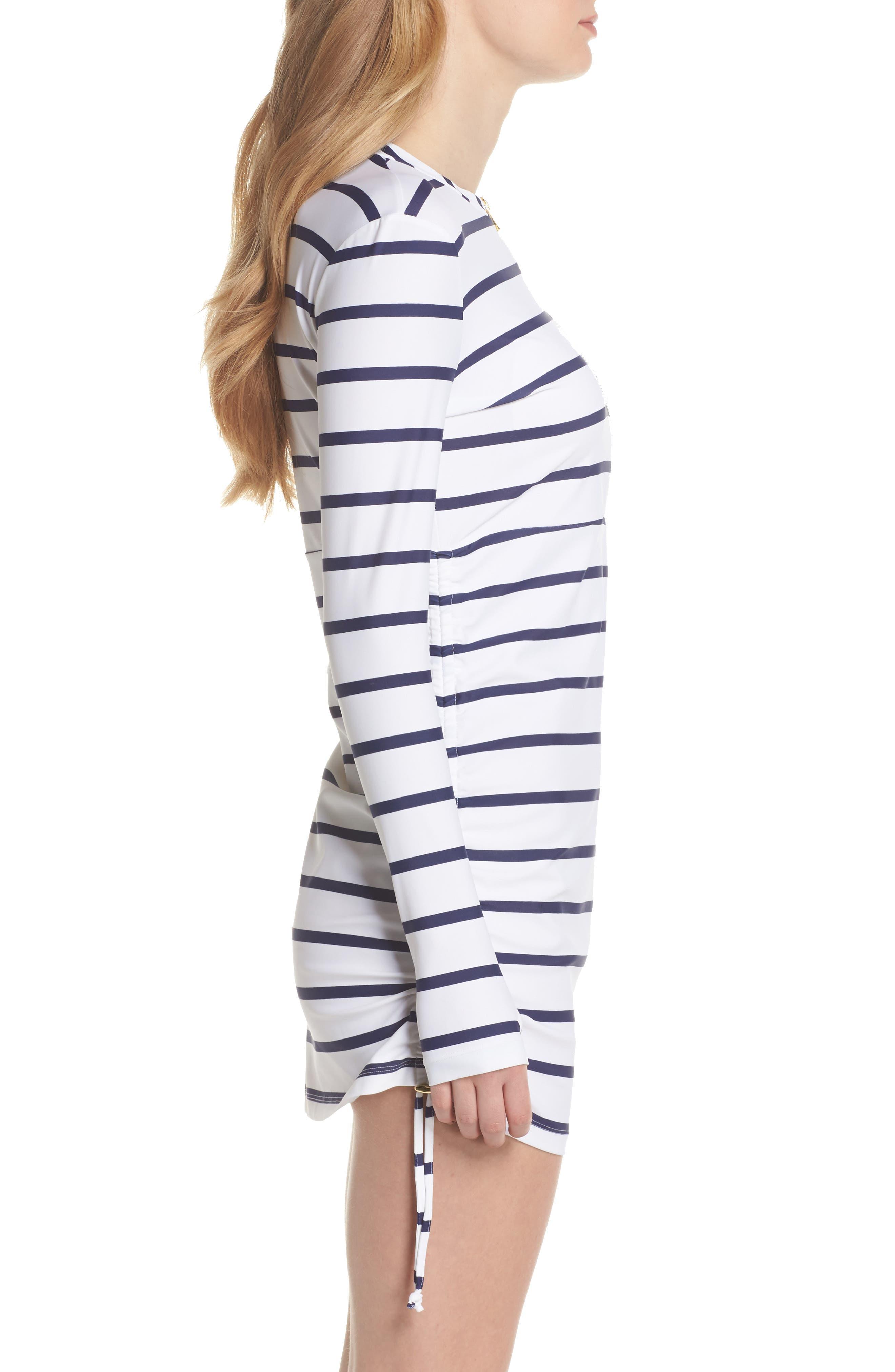 Sonja Stripe Cover-Up Swim Dress,                             Alternate thumbnail 3, color,                             400