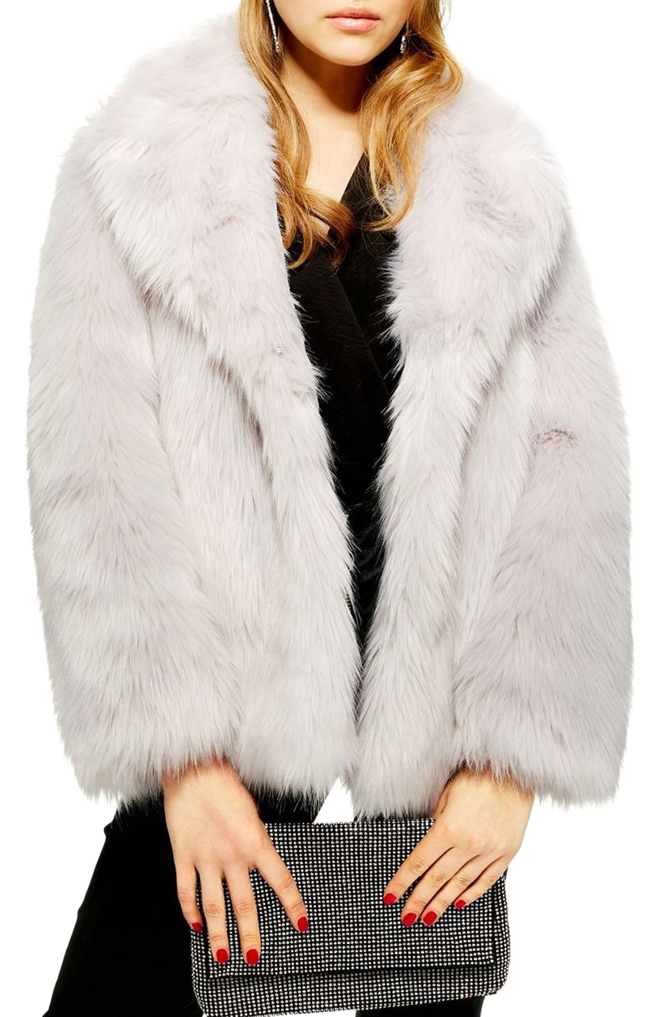 Camille Faux Fur Coat, Main, color, LIGHT GREY