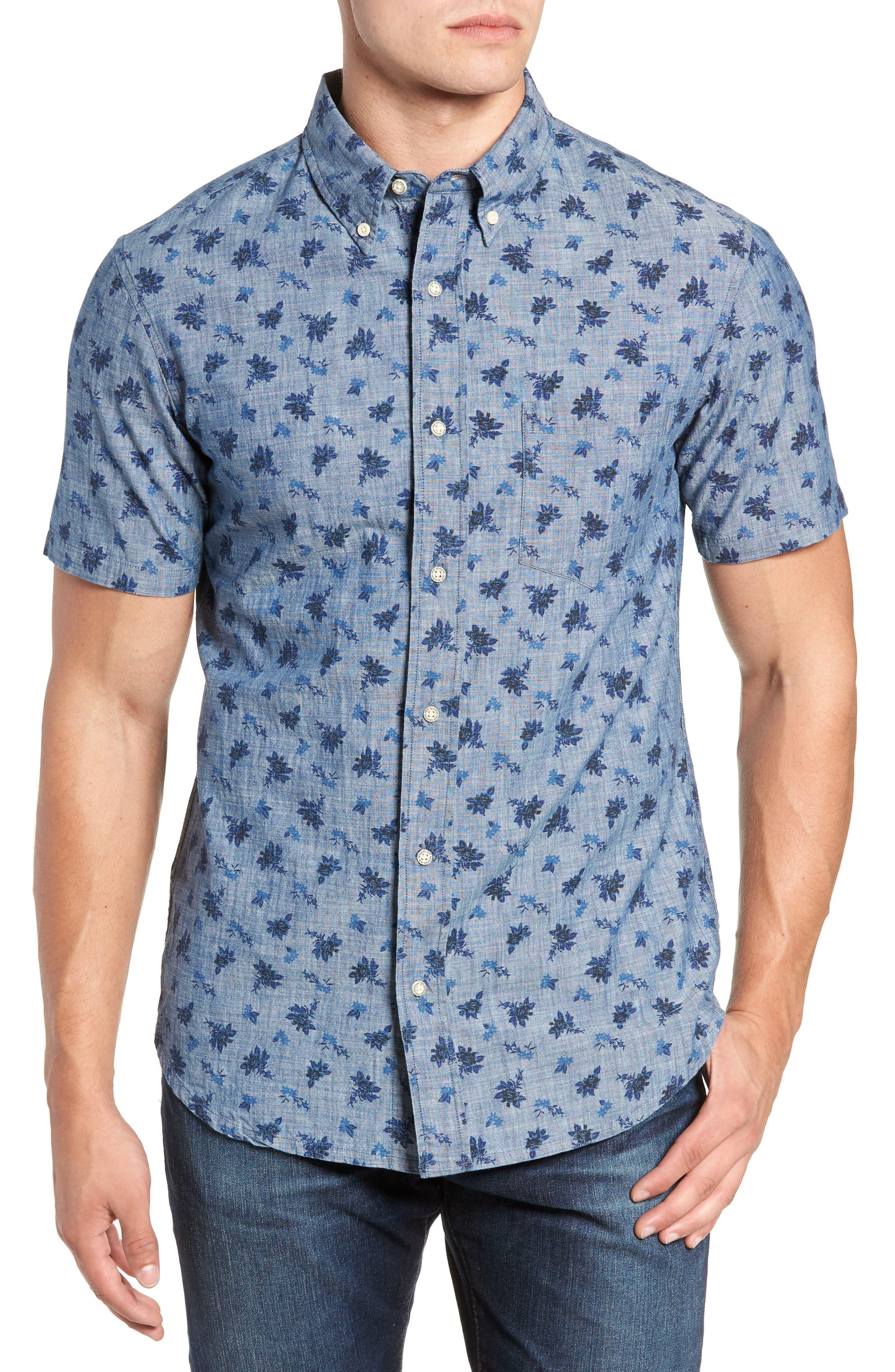 Floral Chambray Regular Fit Sport Shirt,                             Main thumbnail 1, color,                             BLUE