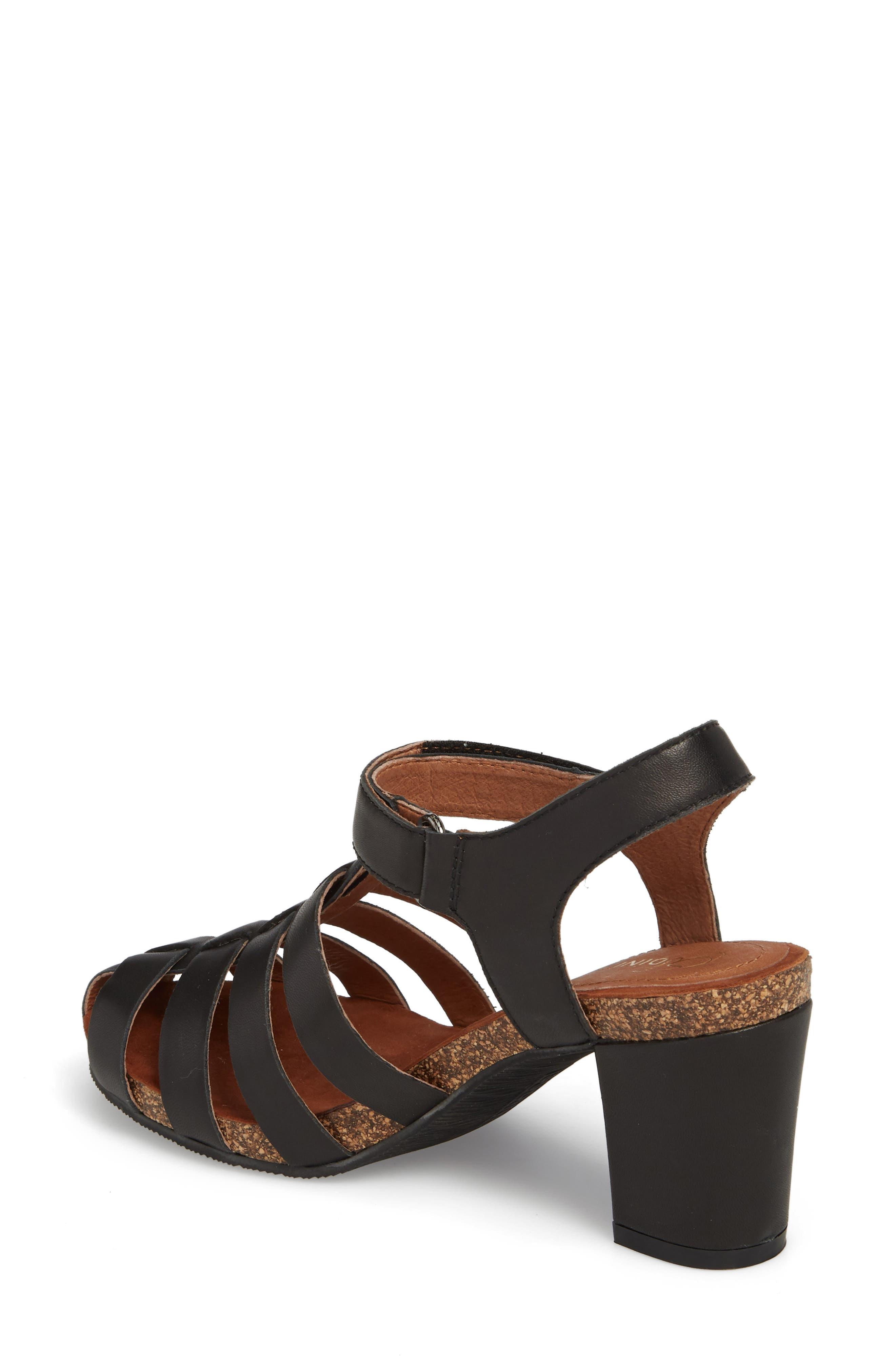 Carrara Block Heel Sandal,                             Alternate thumbnail 2, color,                             BLACK LEATHER