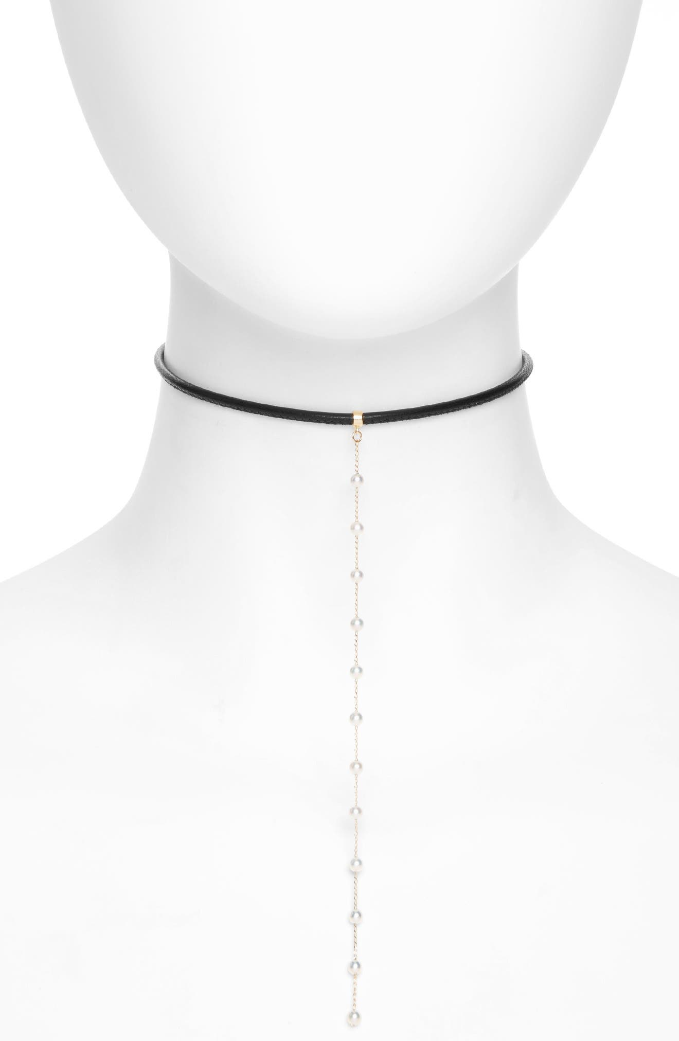 Leather & Pearl Choker,                             Main thumbnail 1, color,                             710