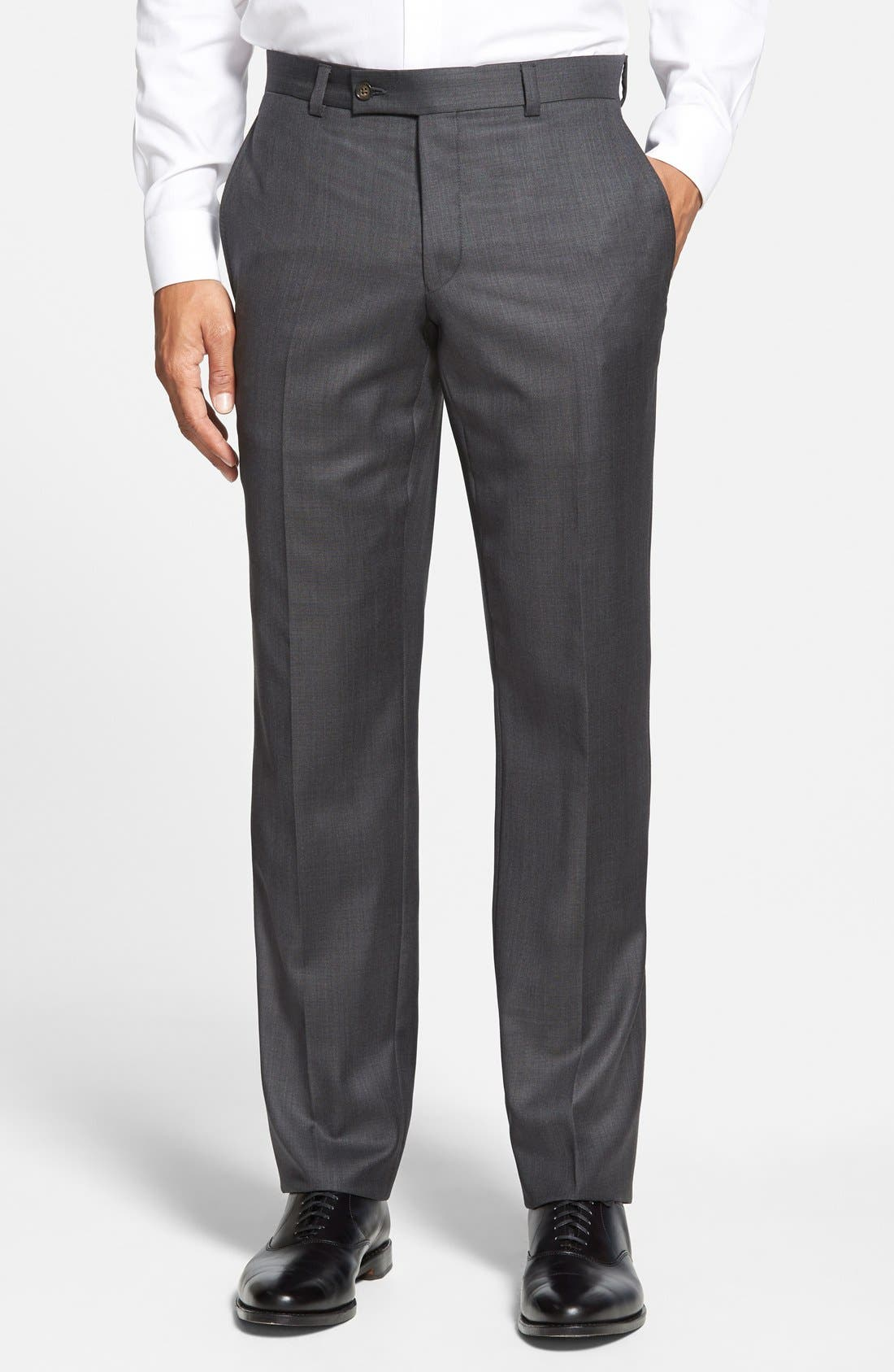Jefferson Flat Front Wool Trousers,                             Main thumbnail 1, color,