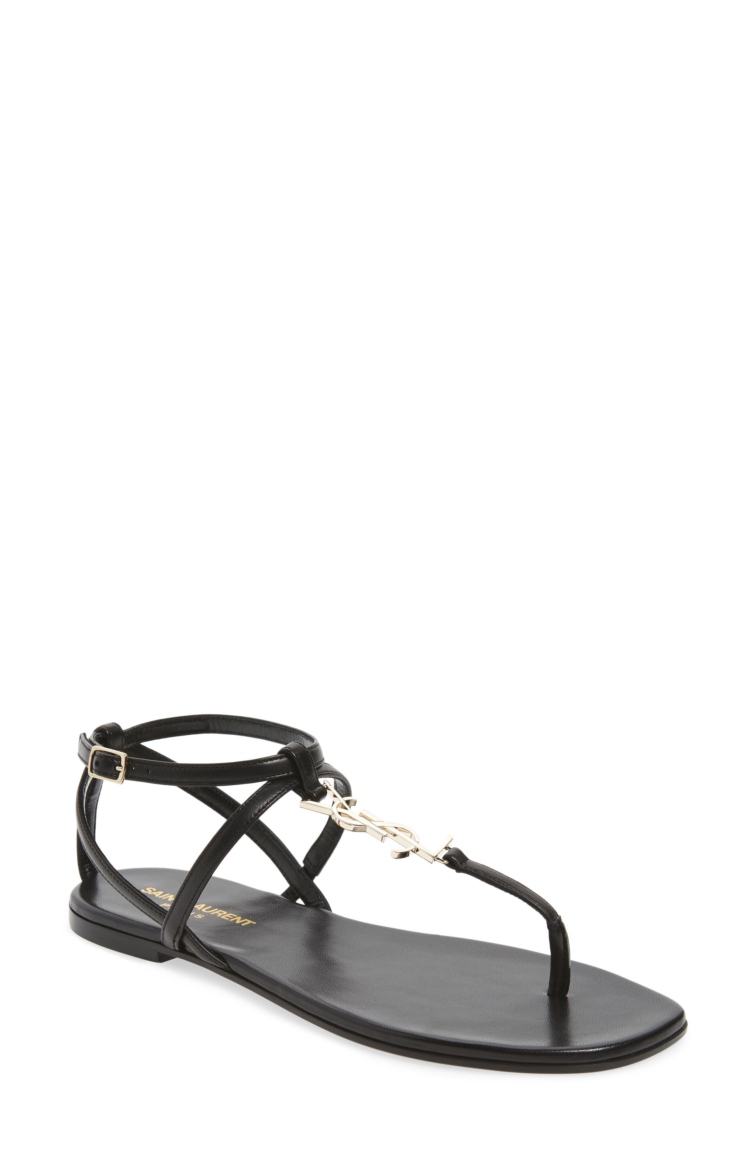 Nu Pied T-Strap Sandal,                         Main,                         color, BLACK/ GOLD