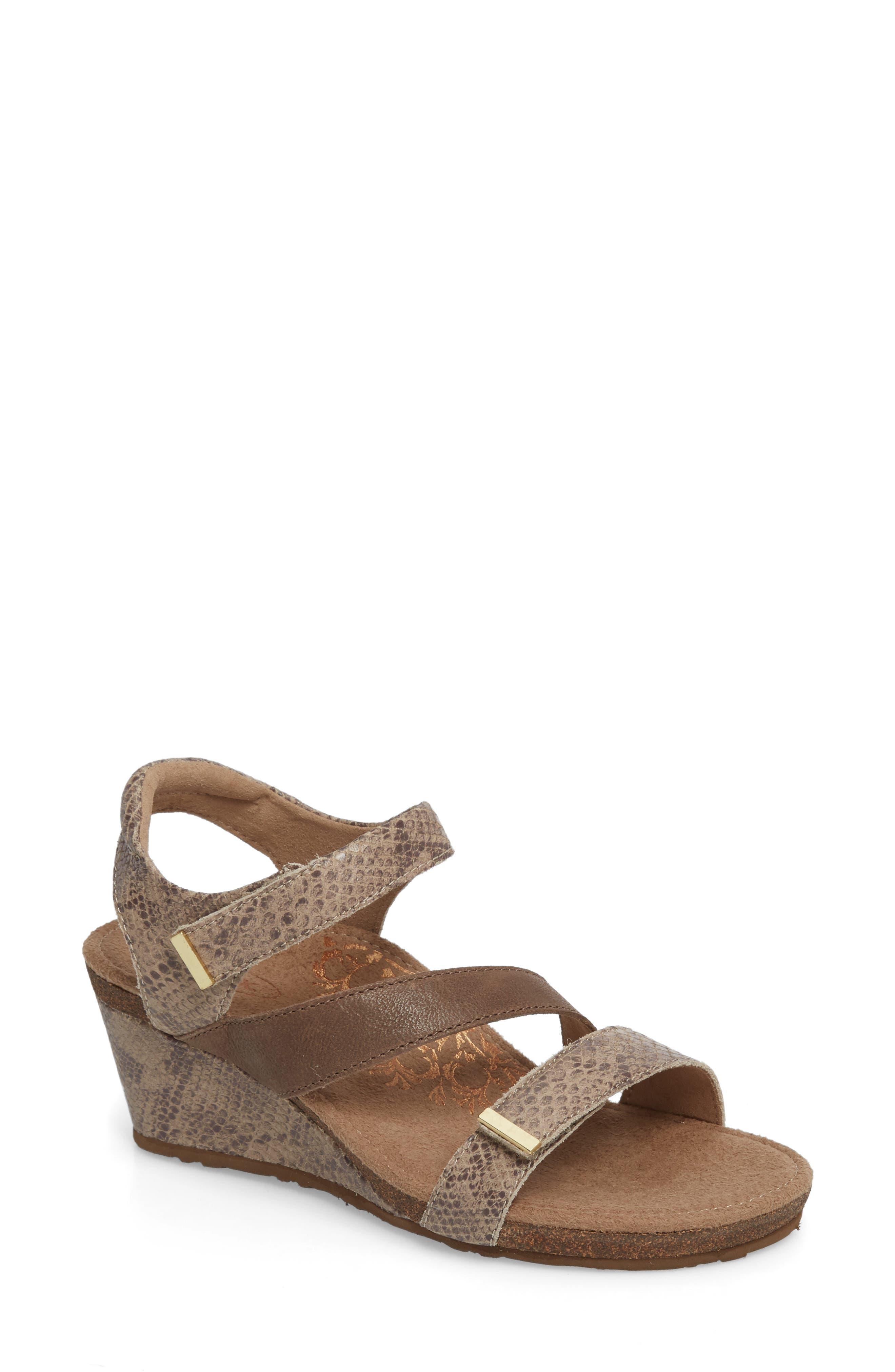 Brynn Asymmetrical Wedge Sandal,                         Main,                         color, STONE SNAKE LEATHER