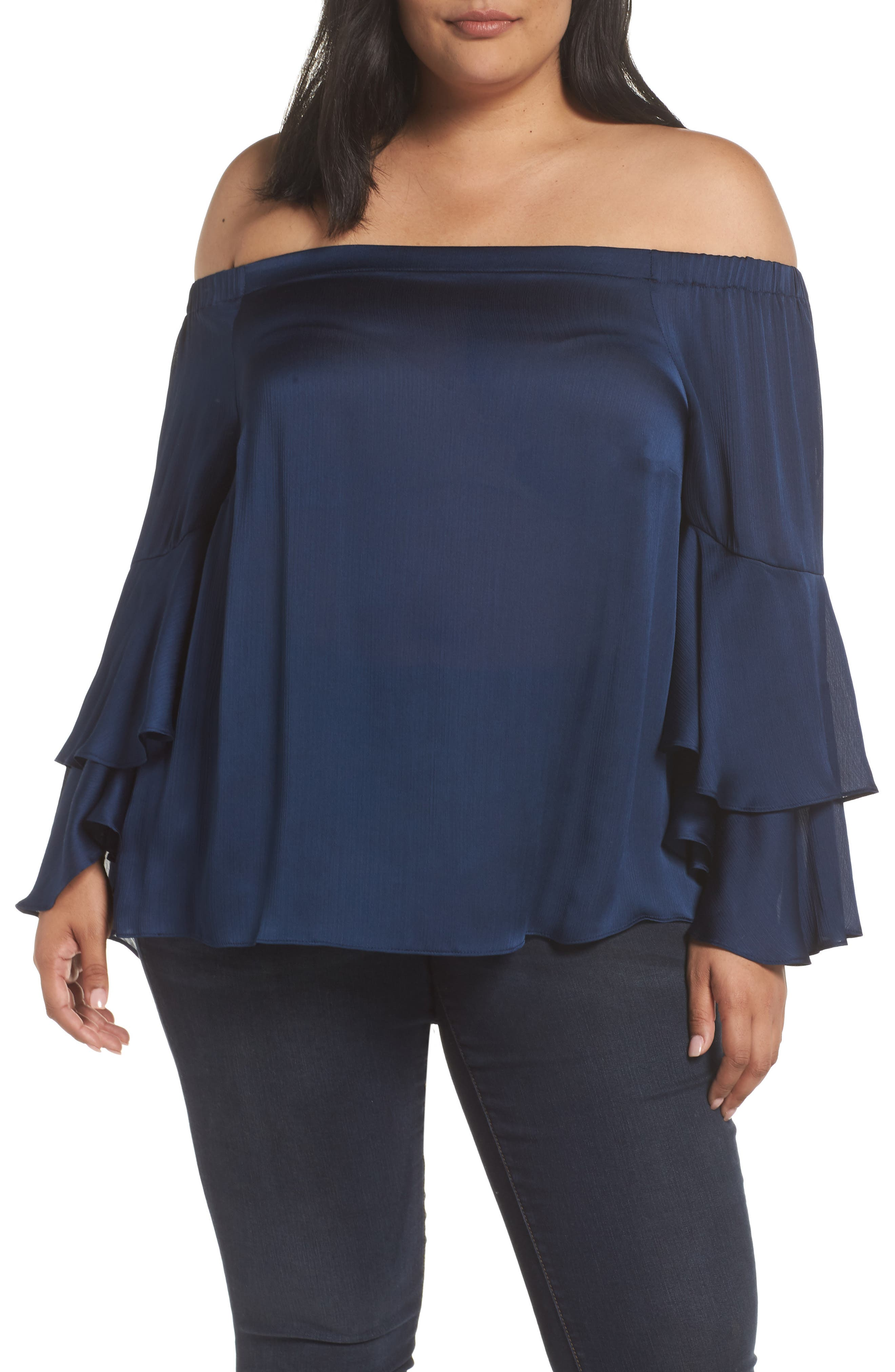 Bell Sleeve Off the Shoulder Blouse,                             Main thumbnail 1, color,                             INK BLUE