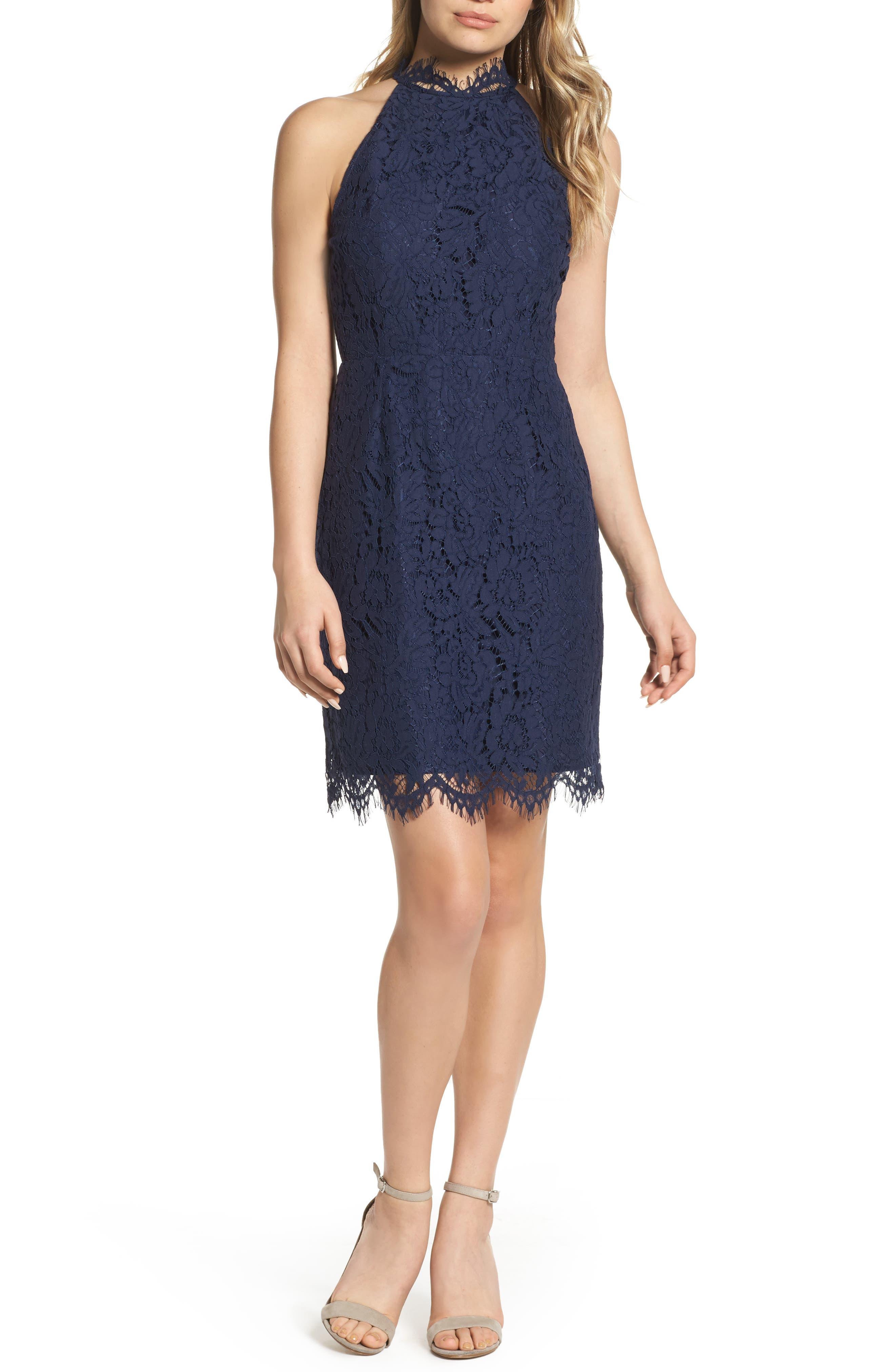 'Cara' High Neck Lace Dress,                             Main thumbnail 1, color,                             NAVY