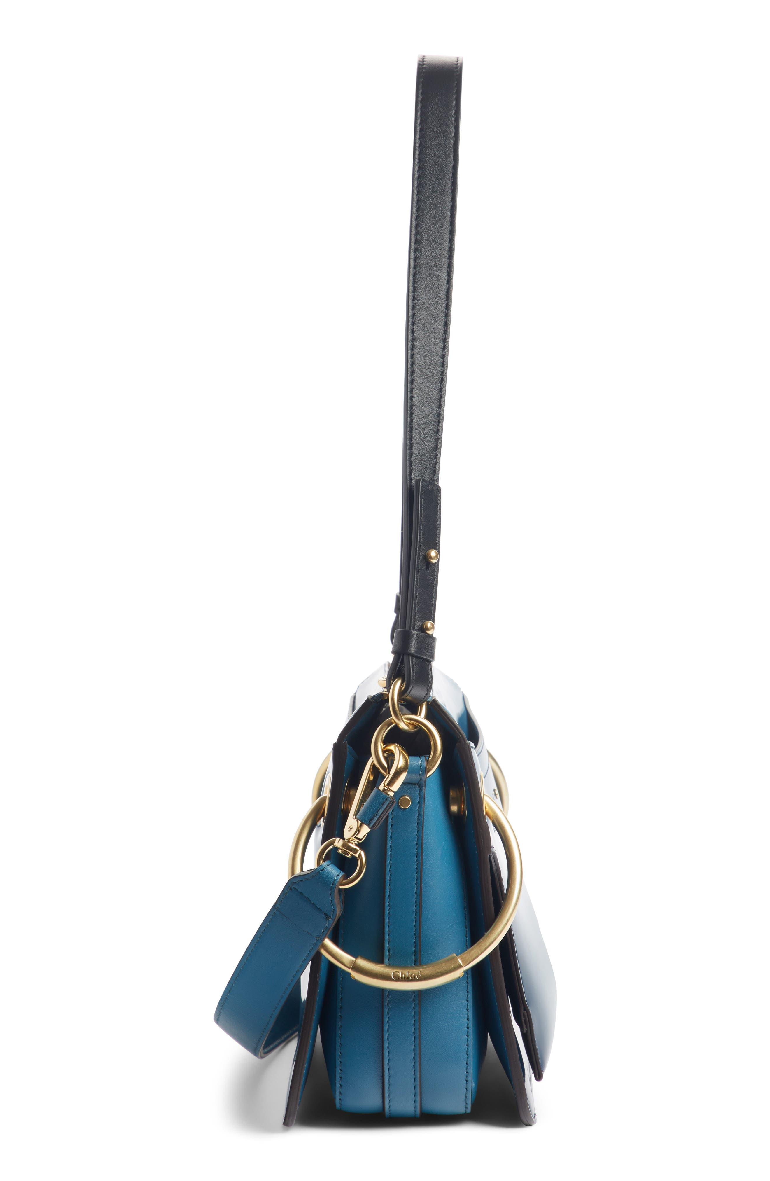 Small Roy Leather Shoulder Bag,                             Alternate thumbnail 4, color,                             VINYL BLUE