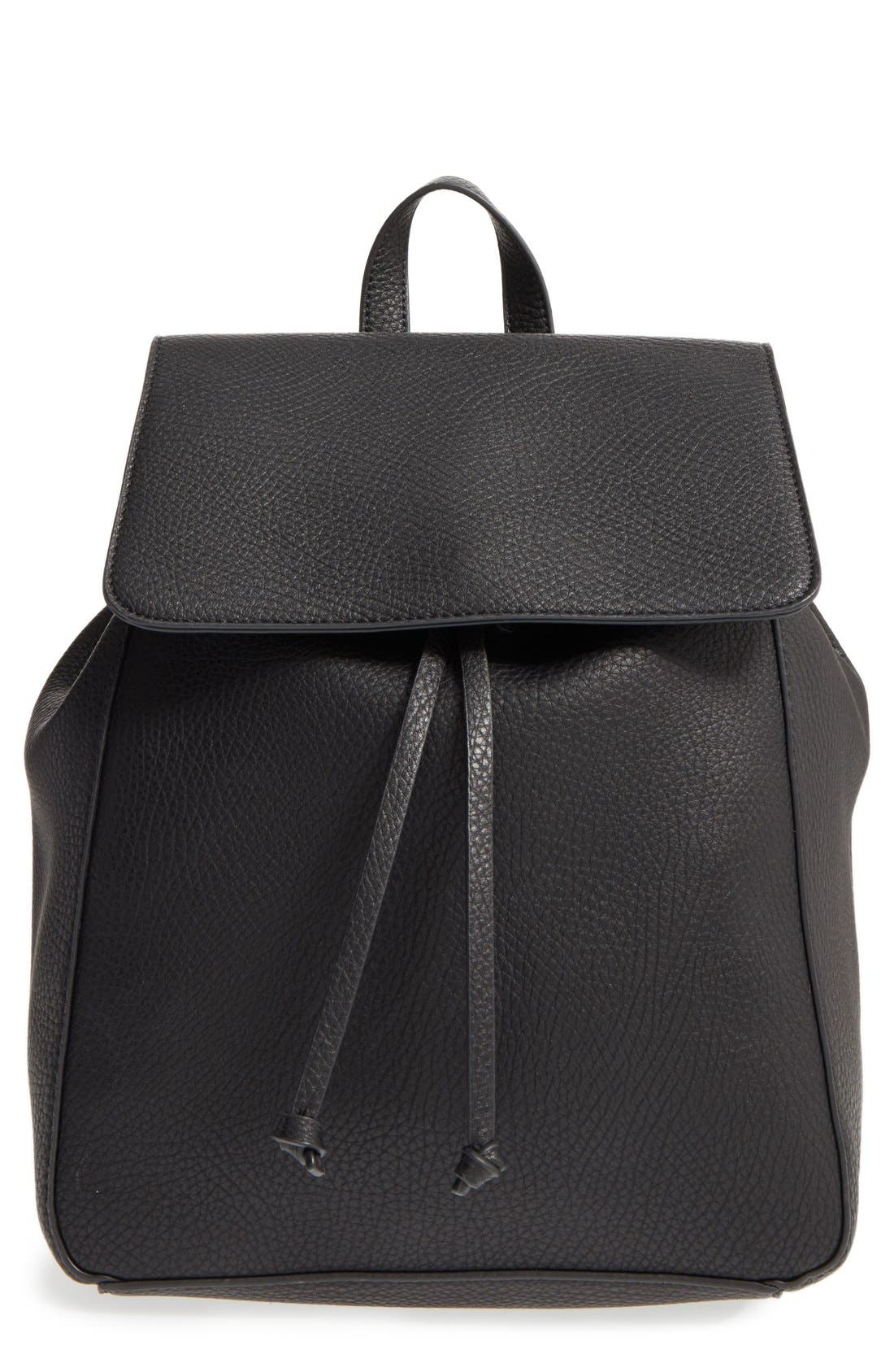 SOLE SOCIETY,                             'Iver' Faux Leather Drawstring Backpack,                             Main thumbnail 1, color,                             001