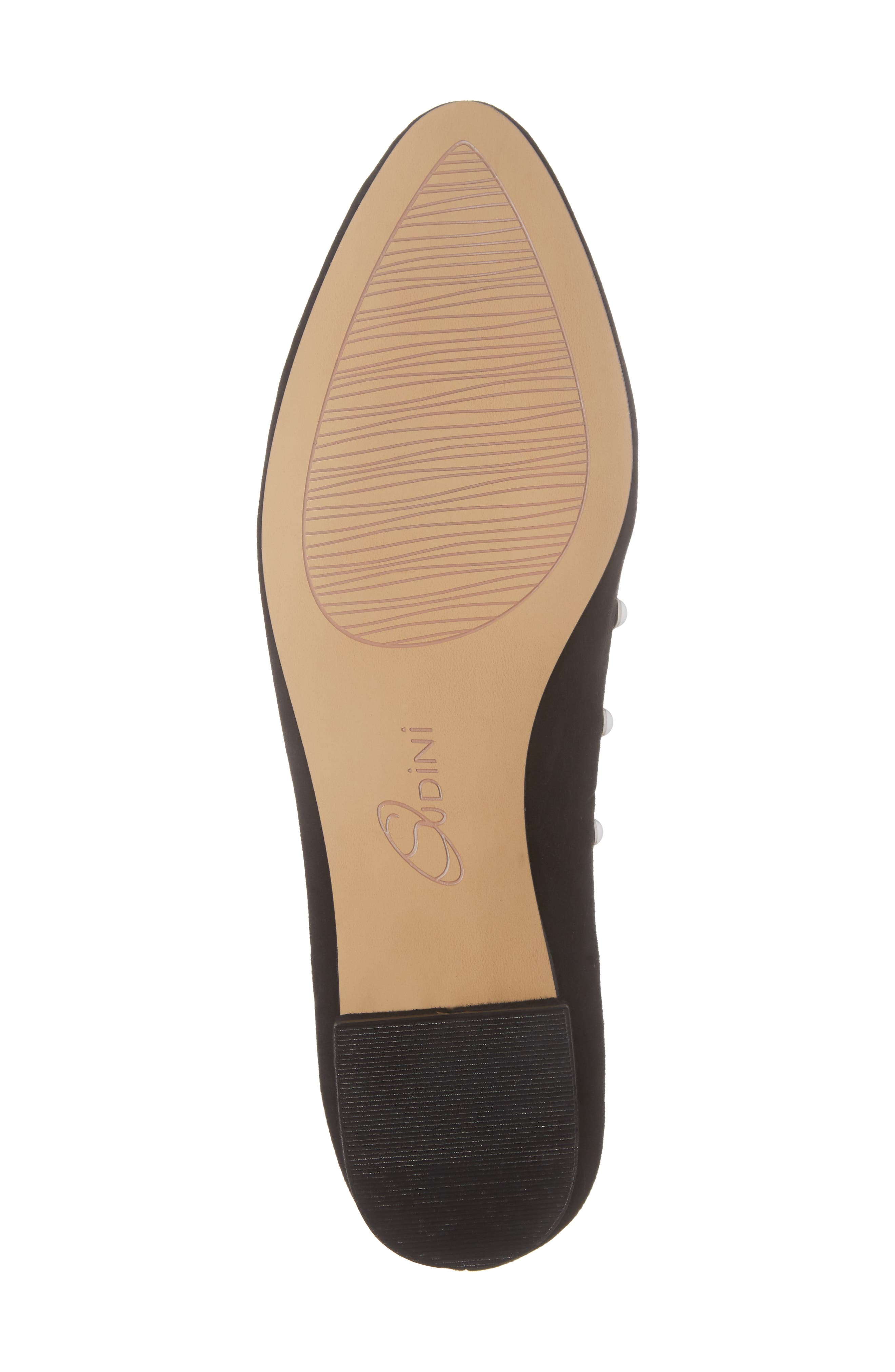 Amira Imitation Pearl Flat,                             Alternate thumbnail 6, color,                             BLACK SUEDE