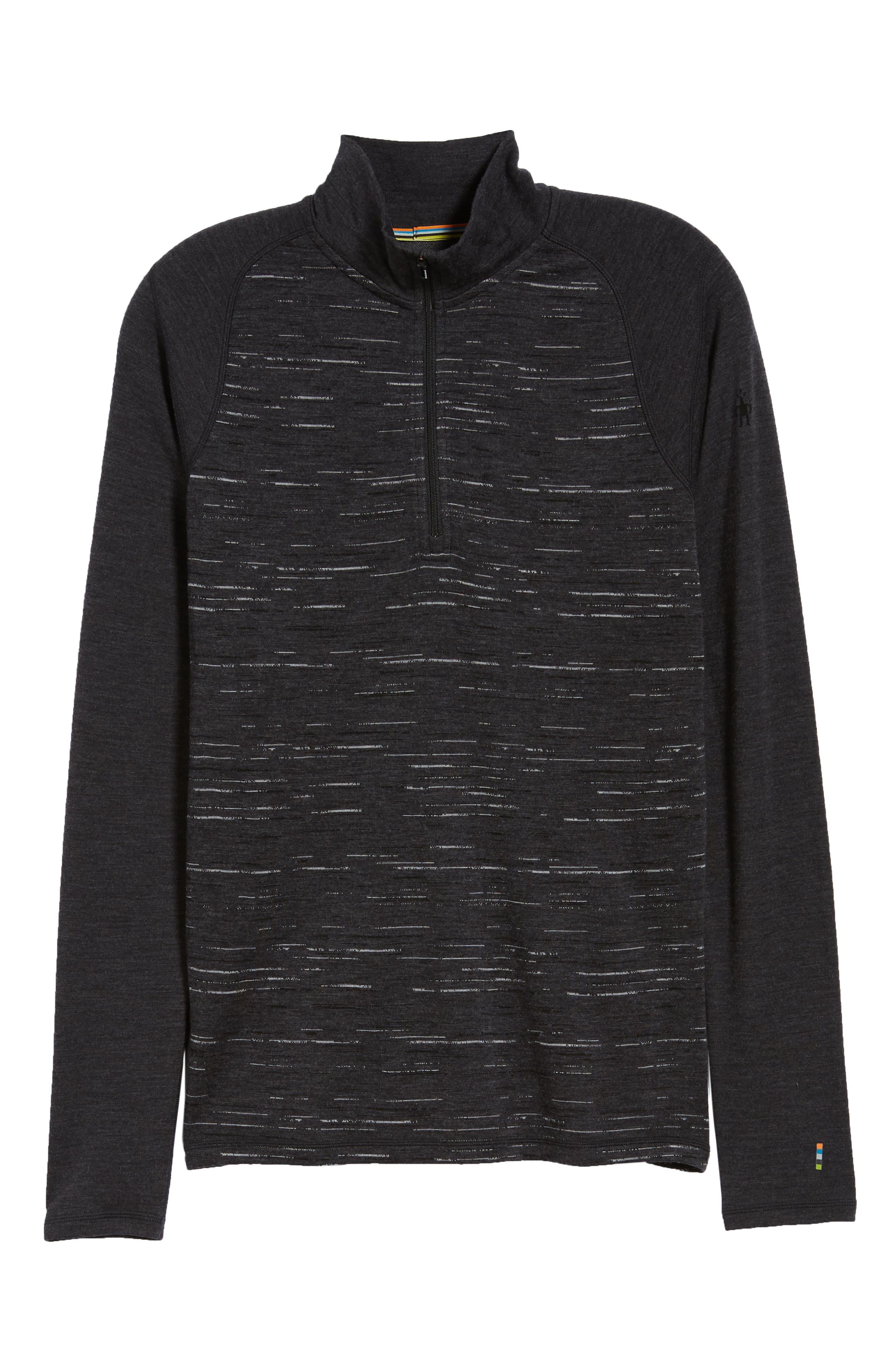 SMARTWOOL,                             Merino 250 Base Layer Pattern Quarter Zip Pullover,                             Alternate thumbnail 6, color,                             CHARCOAL/ BLACK
