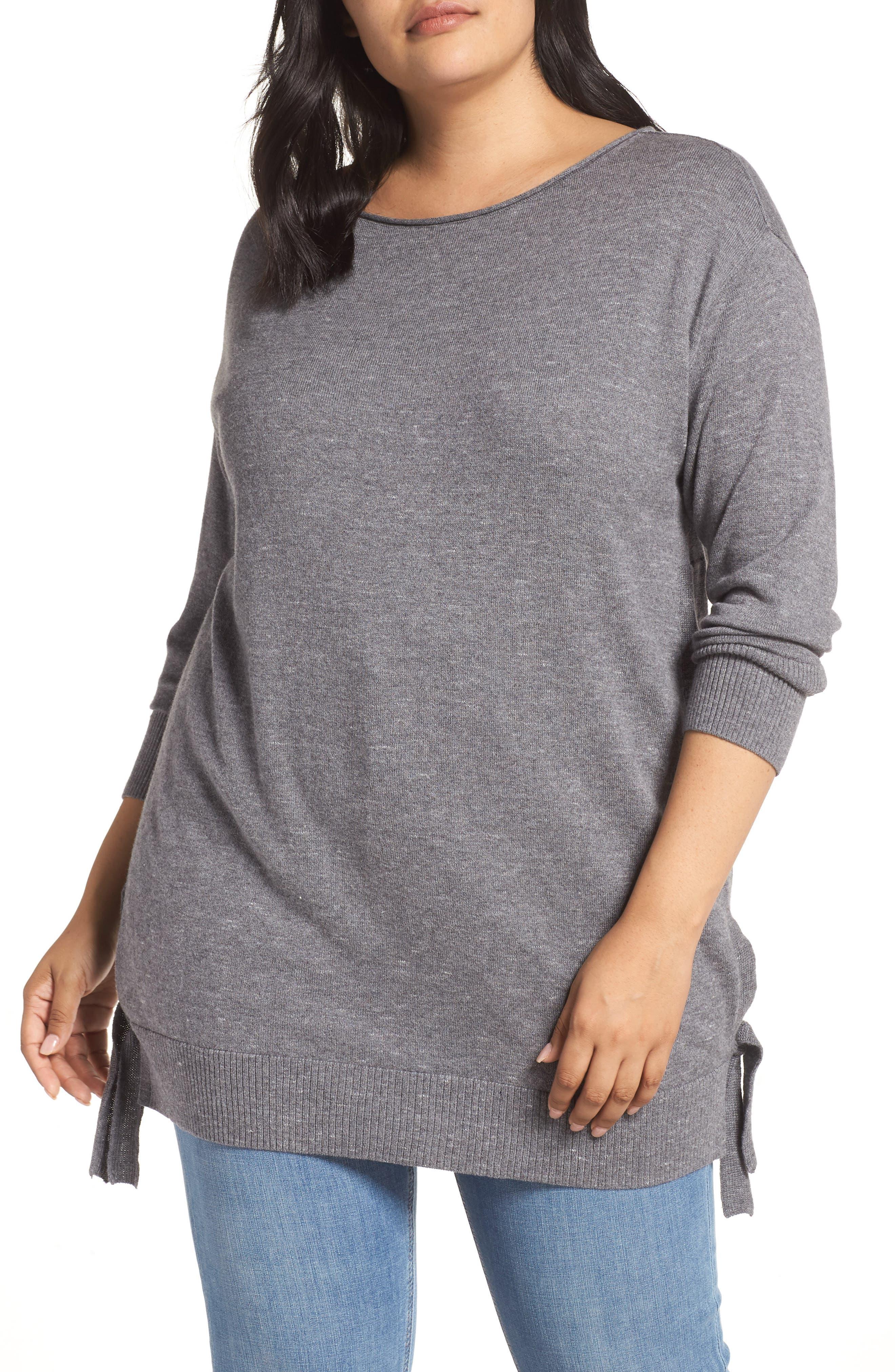 Plus Size Caslon Side Tie Detail Cotton & Wool Sweater, Grey