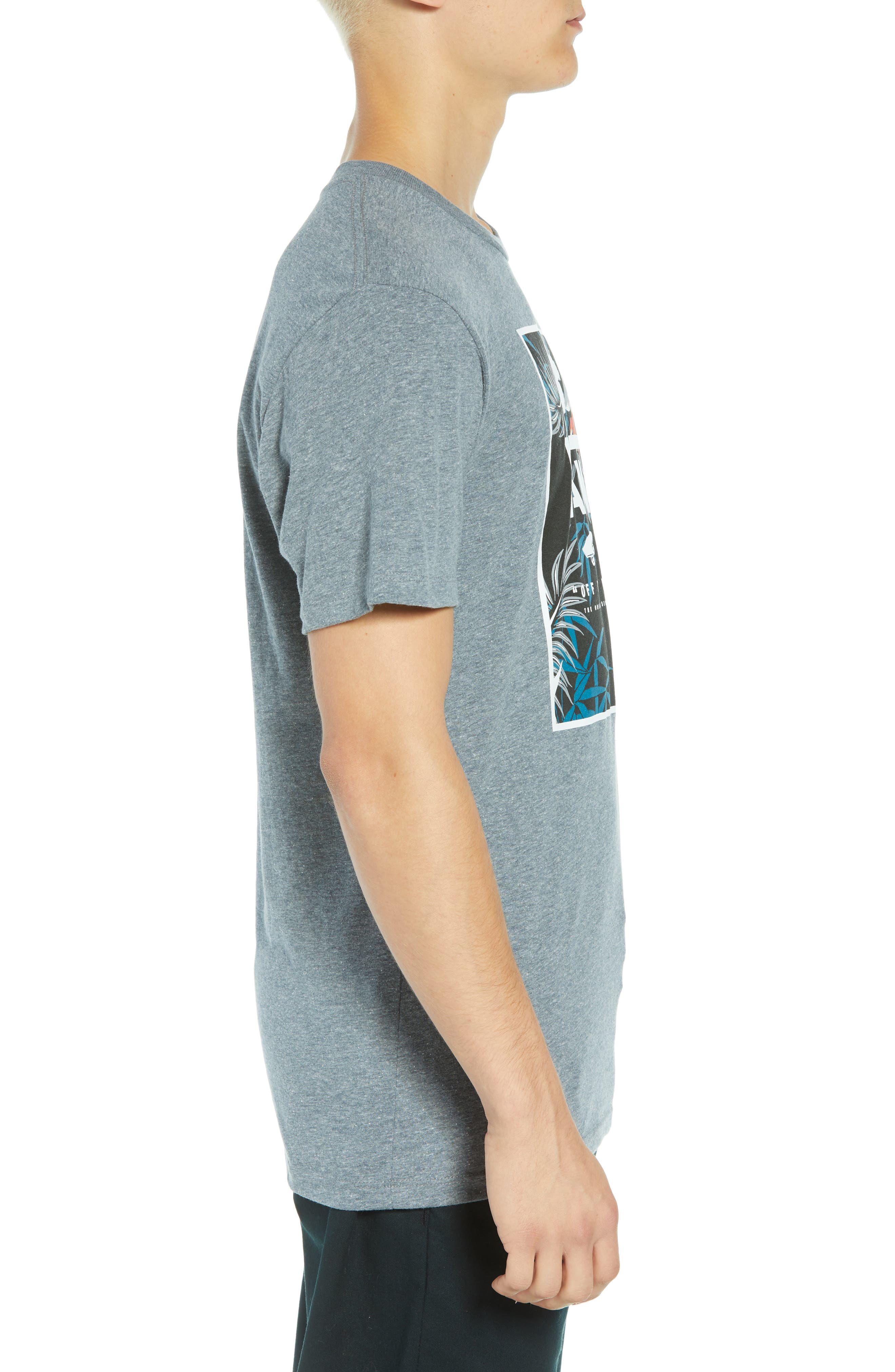 Print Box Graphic T-Shirt,                             Alternate thumbnail 3, color,                             HEATHER GREY/ PEACE OUT FLORAL