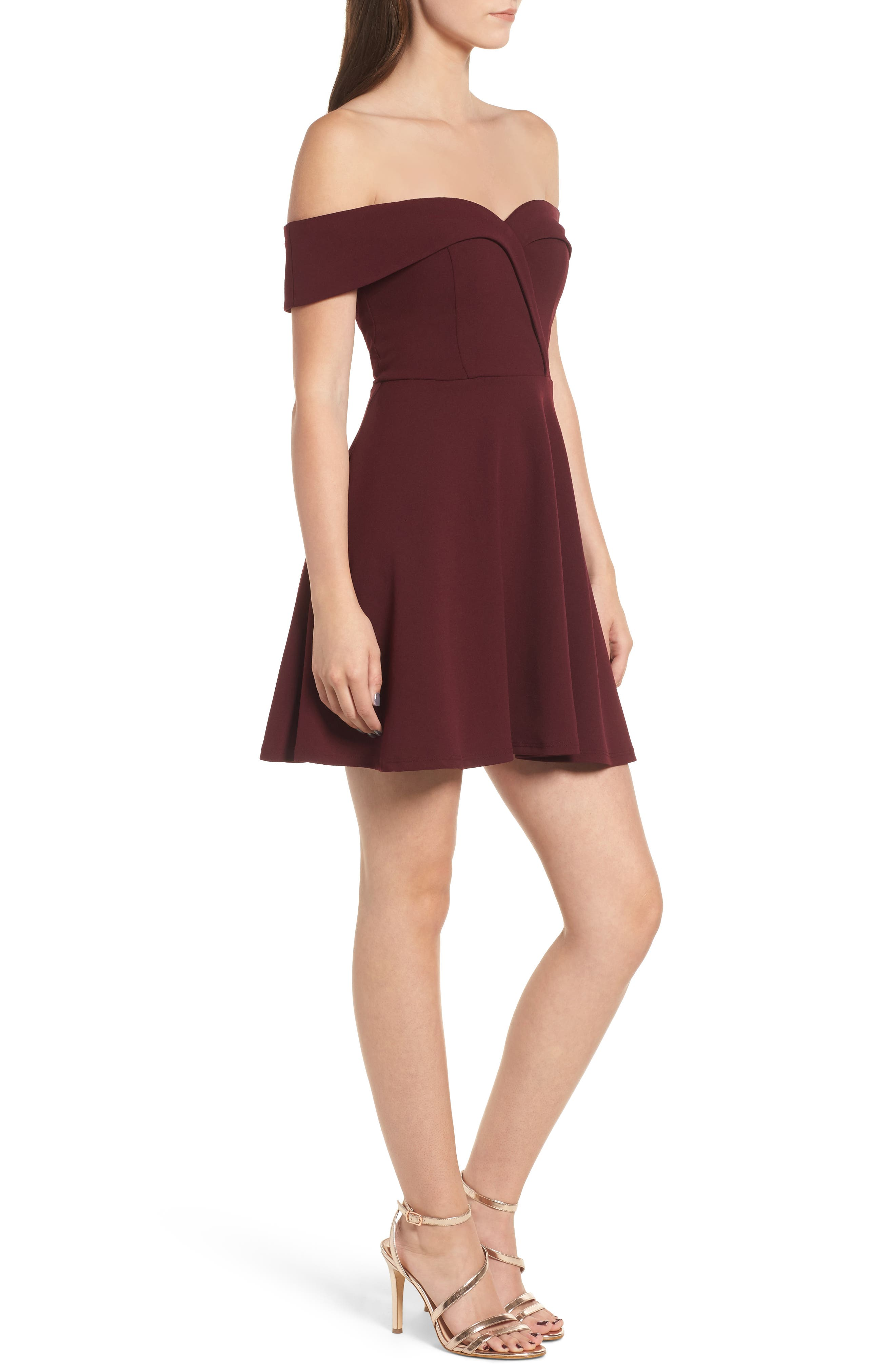 Off the Shoulder Scuba Crepe Skater Dress,                             Alternate thumbnail 3, color,                             930