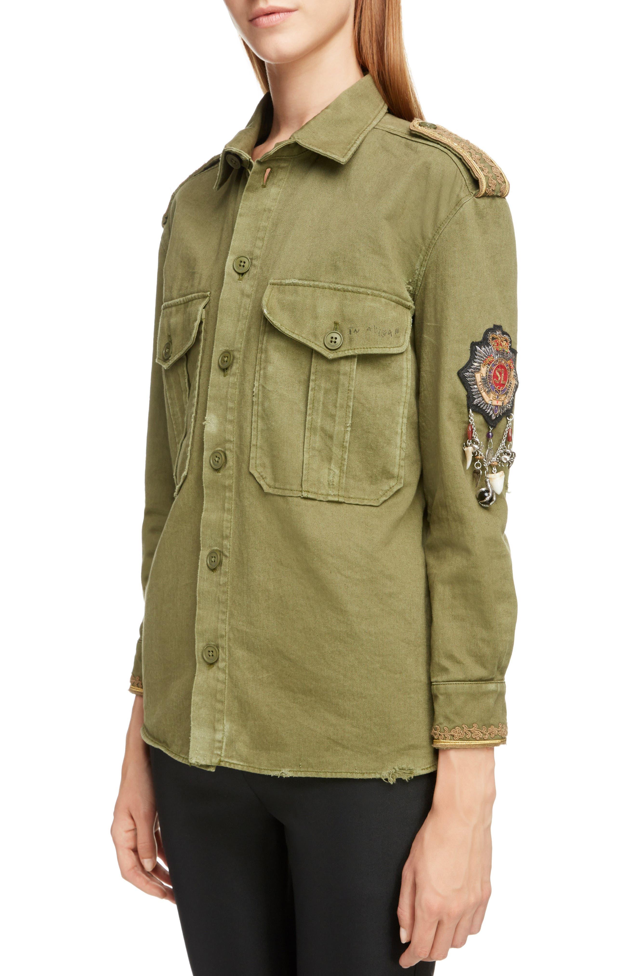 SAINT LAURENT,                             Military Logo Charm Shirt,                             Alternate thumbnail 4, color,                             OLIVE